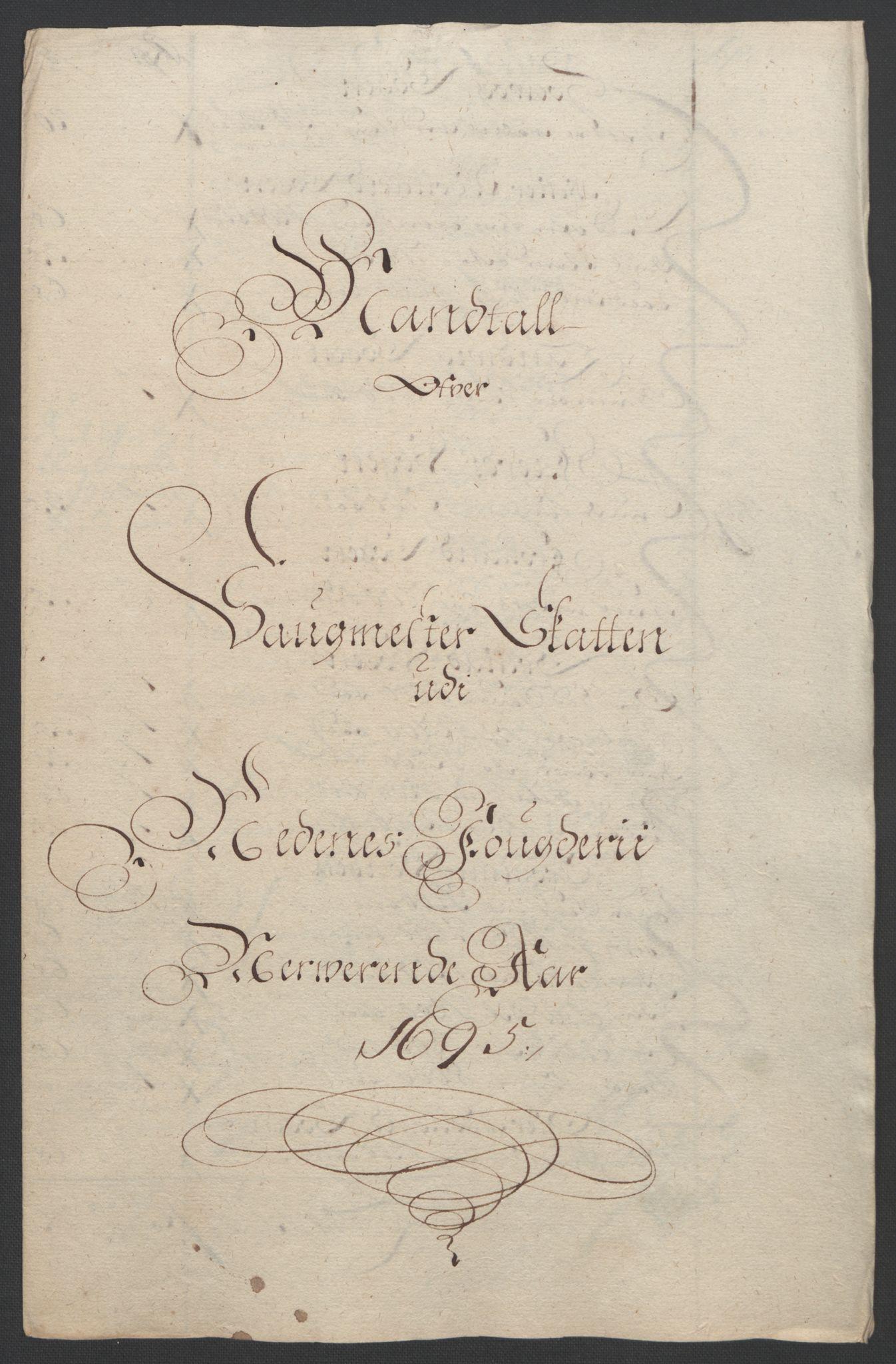 RA, Rentekammeret inntil 1814, Reviderte regnskaper, Fogderegnskap, R39/L2312: Fogderegnskap Nedenes, 1693-1695, s. 254