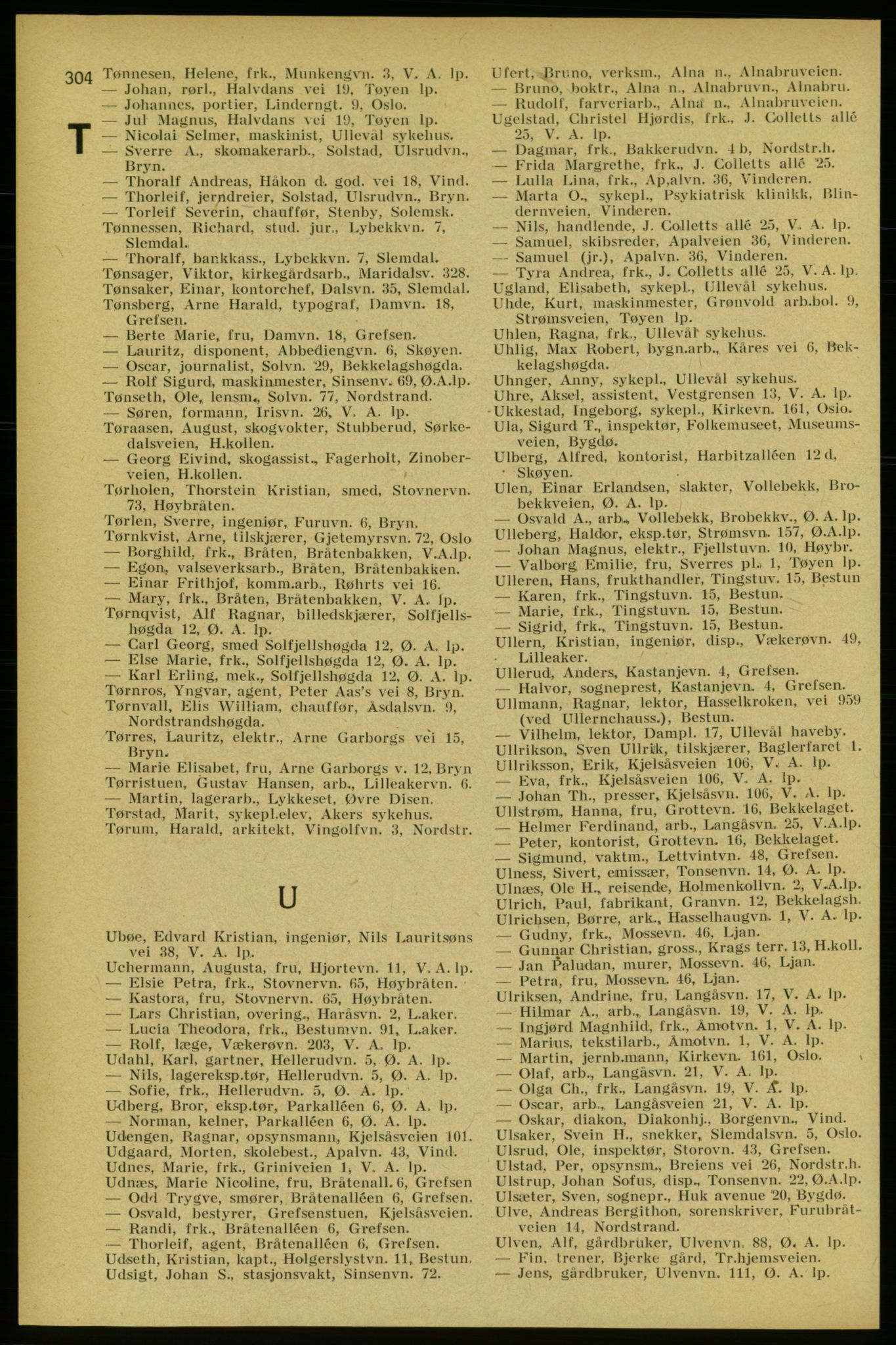 RA, Aker adressebok/adressekalender (publikasjon)*, 1934-1935, s. 304