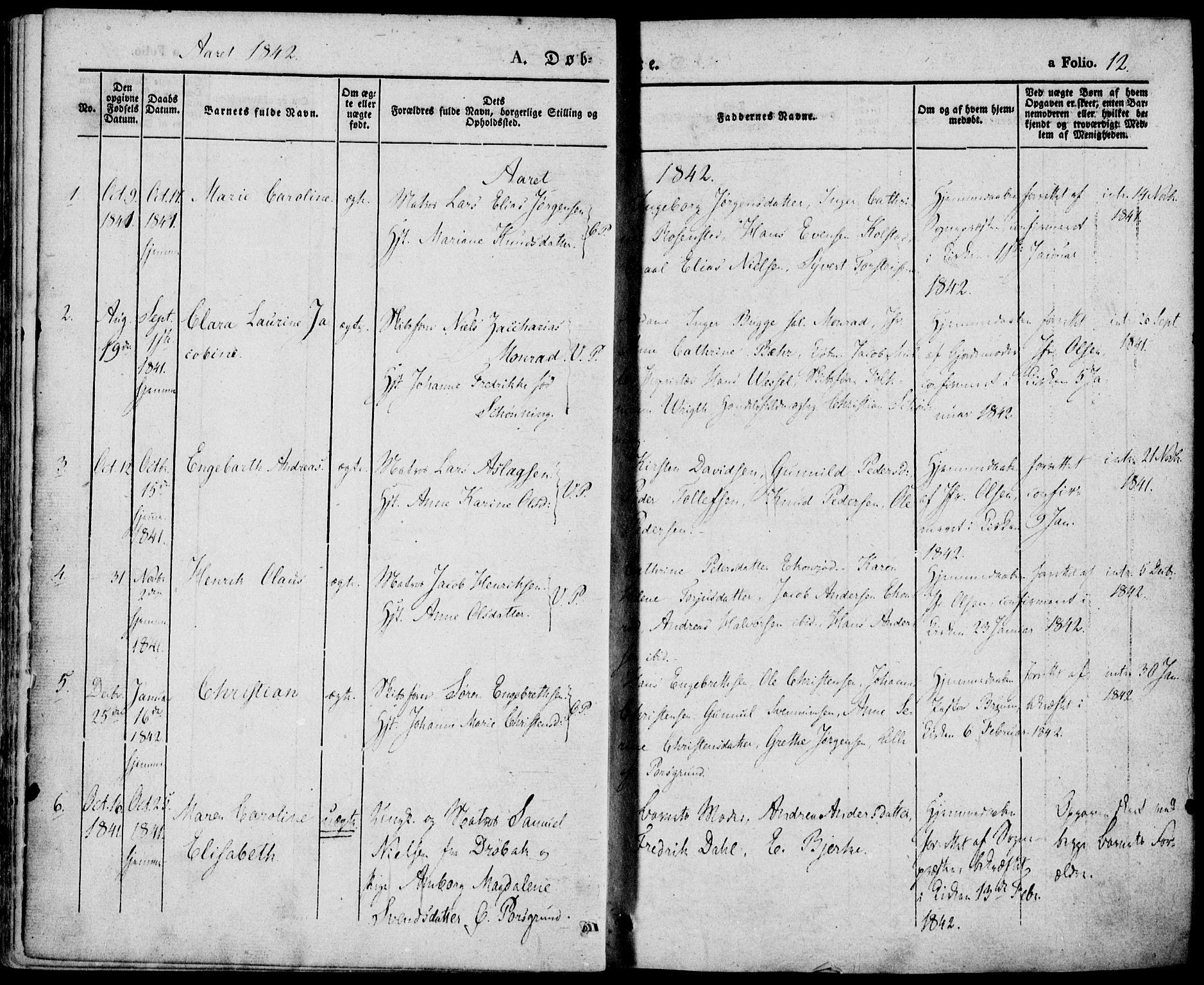 SAKO, Porsgrunn kirkebøker , F/Fa/L0006: Ministerialbok nr. 6, 1841-1857, s. 12