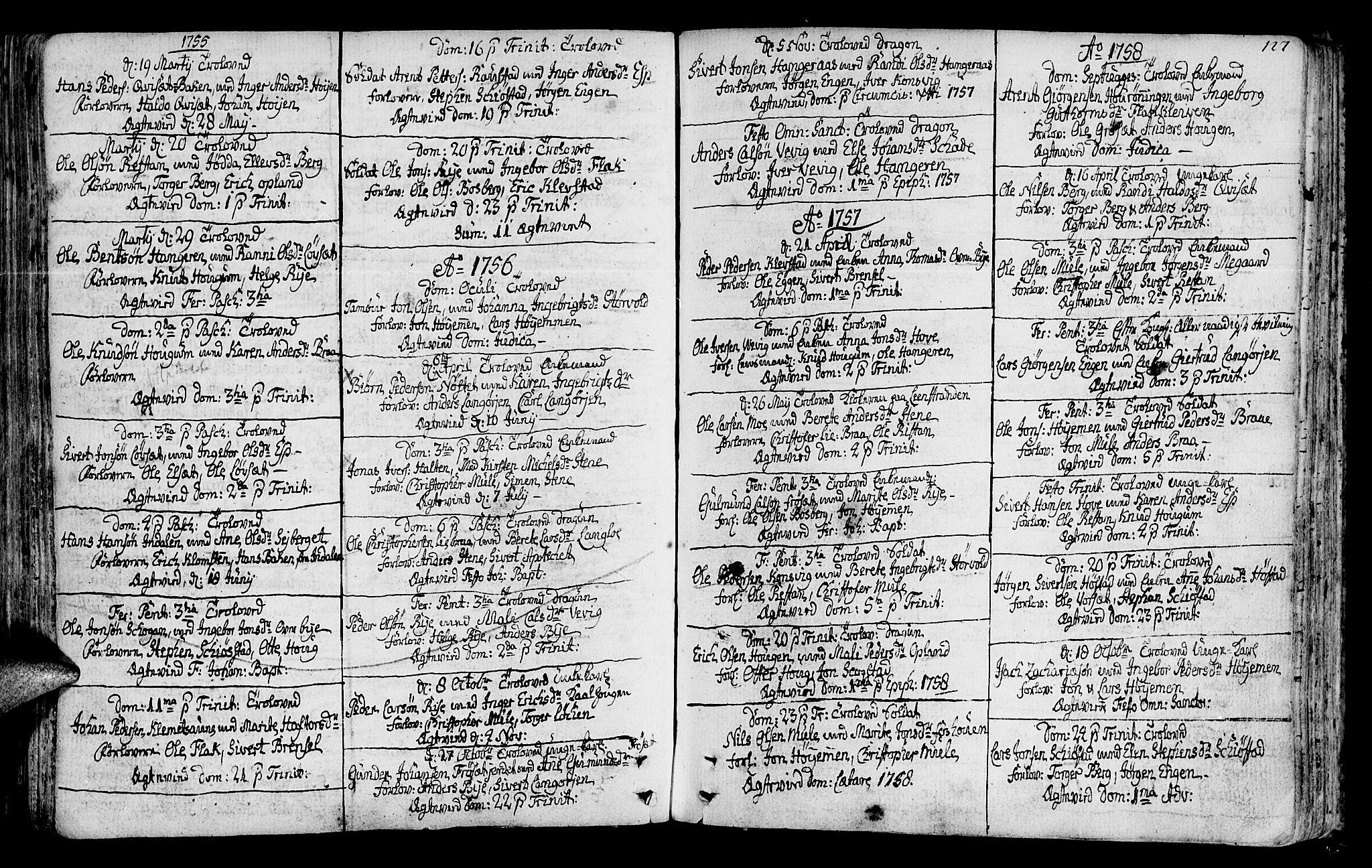 SAT, Ministerialprotokoller, klokkerbøker og fødselsregistre - Sør-Trøndelag, 612/L0370: Ministerialbok nr. 612A04, 1754-1802, s. 127