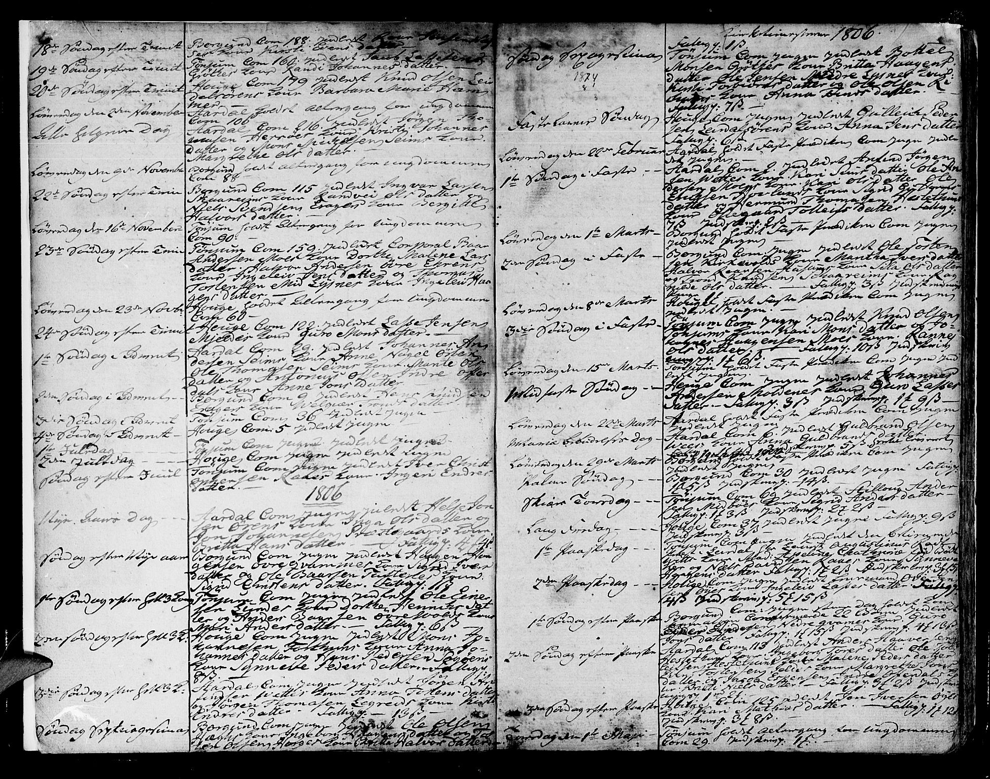 SAB, Lærdal sokneprestembete, Ministerialbok nr. A 4, 1805-1821, s. 4-5