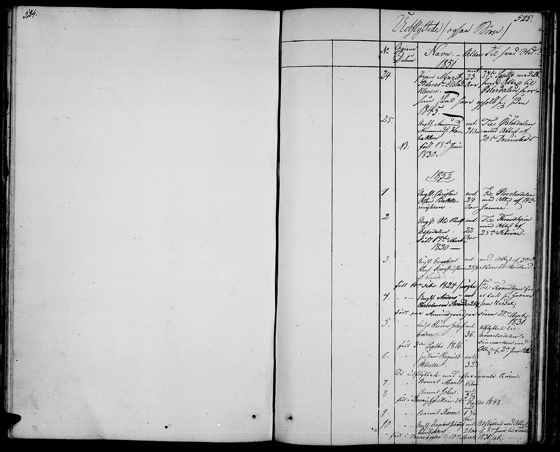SAH, Ringebu prestekontor, Klokkerbok nr. 2, 1839-1853, s. 524-525