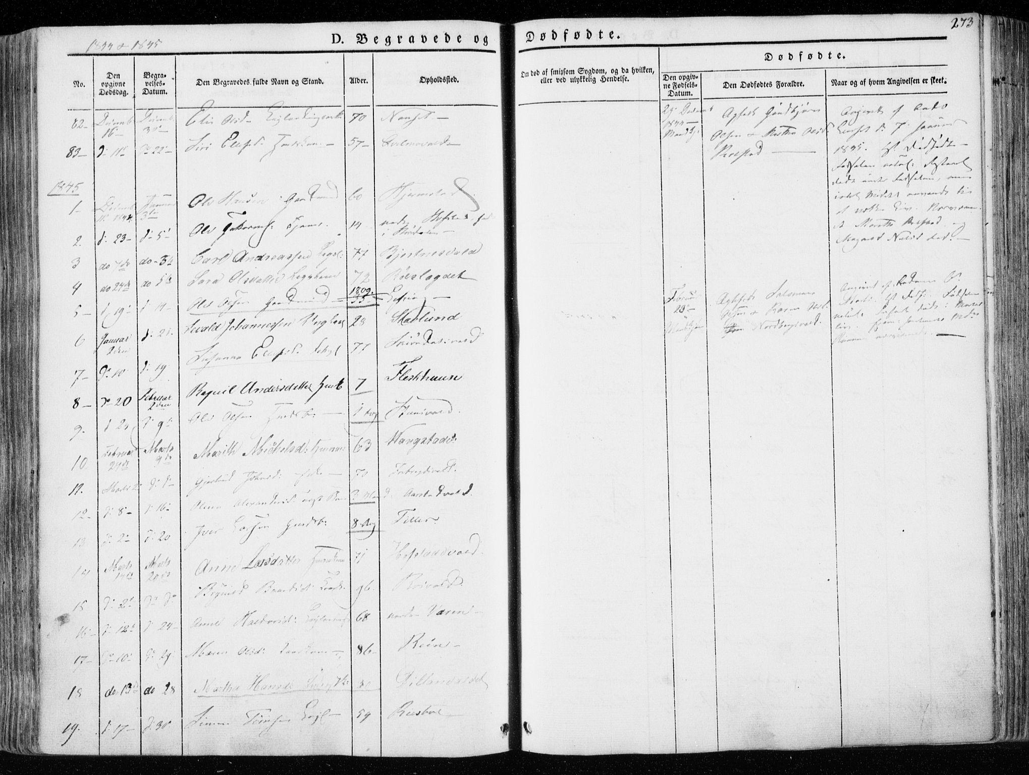 SAT, Ministerialprotokoller, klokkerbøker og fødselsregistre - Nord-Trøndelag, 723/L0239: Ministerialbok nr. 723A08, 1841-1851, s. 273