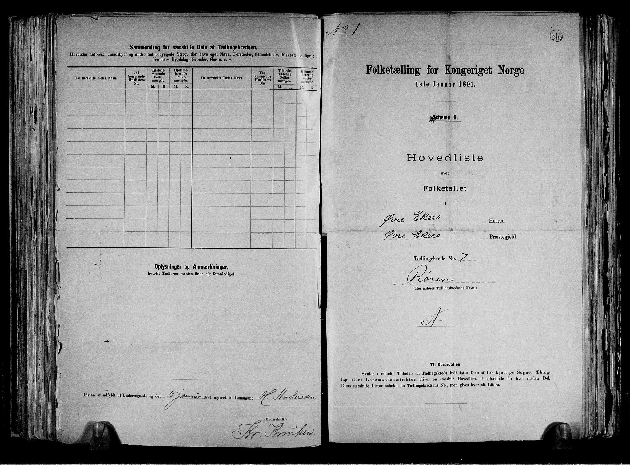 RA, Folketelling 1891 for 0624 Øvre Eiker herred, 1891, s. 18
