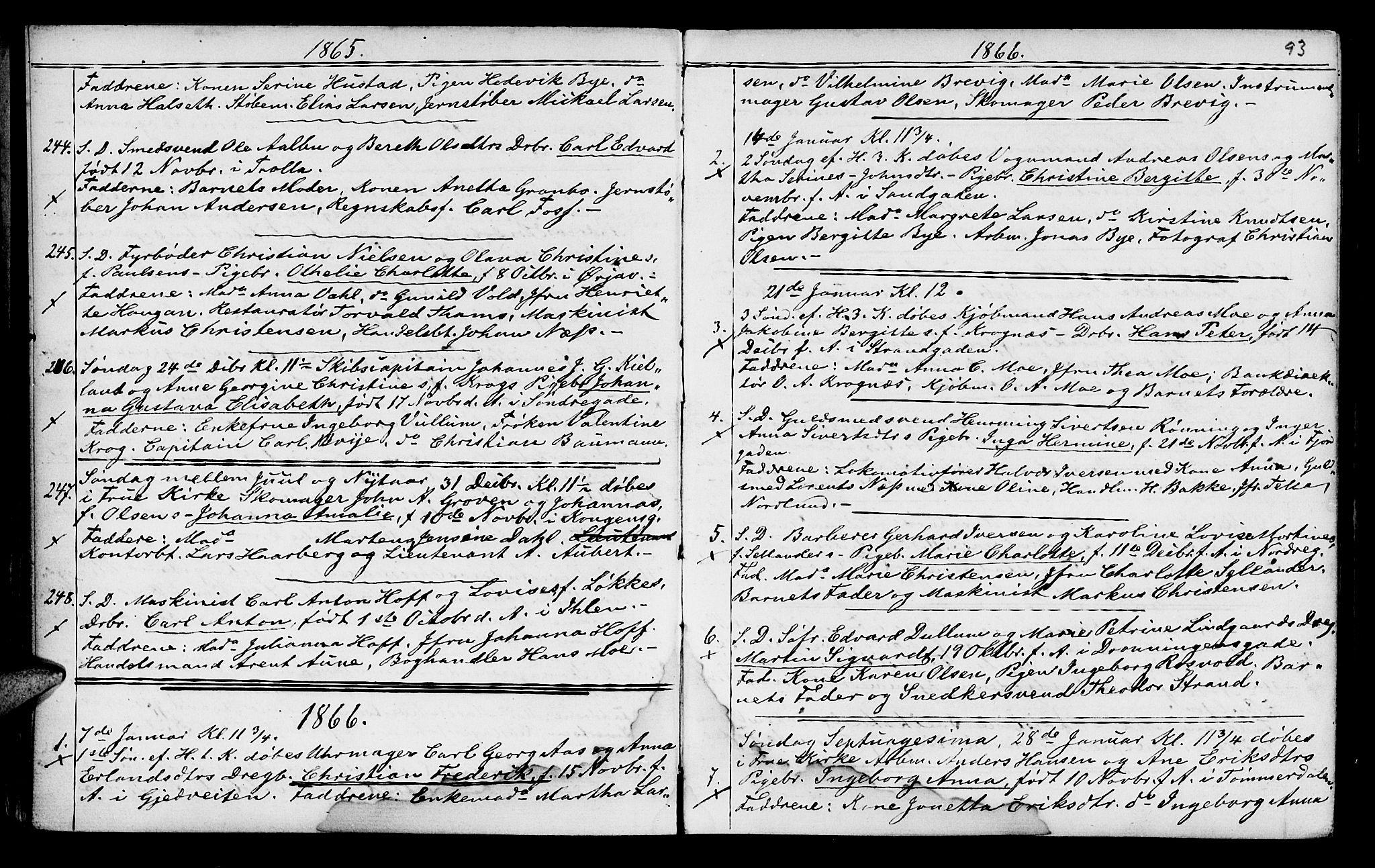 SAT, Ministerialprotokoller, klokkerbøker og fødselsregistre - Sør-Trøndelag, 602/L0140: Klokkerbok nr. 602C08, 1864-1872, s. 92-93