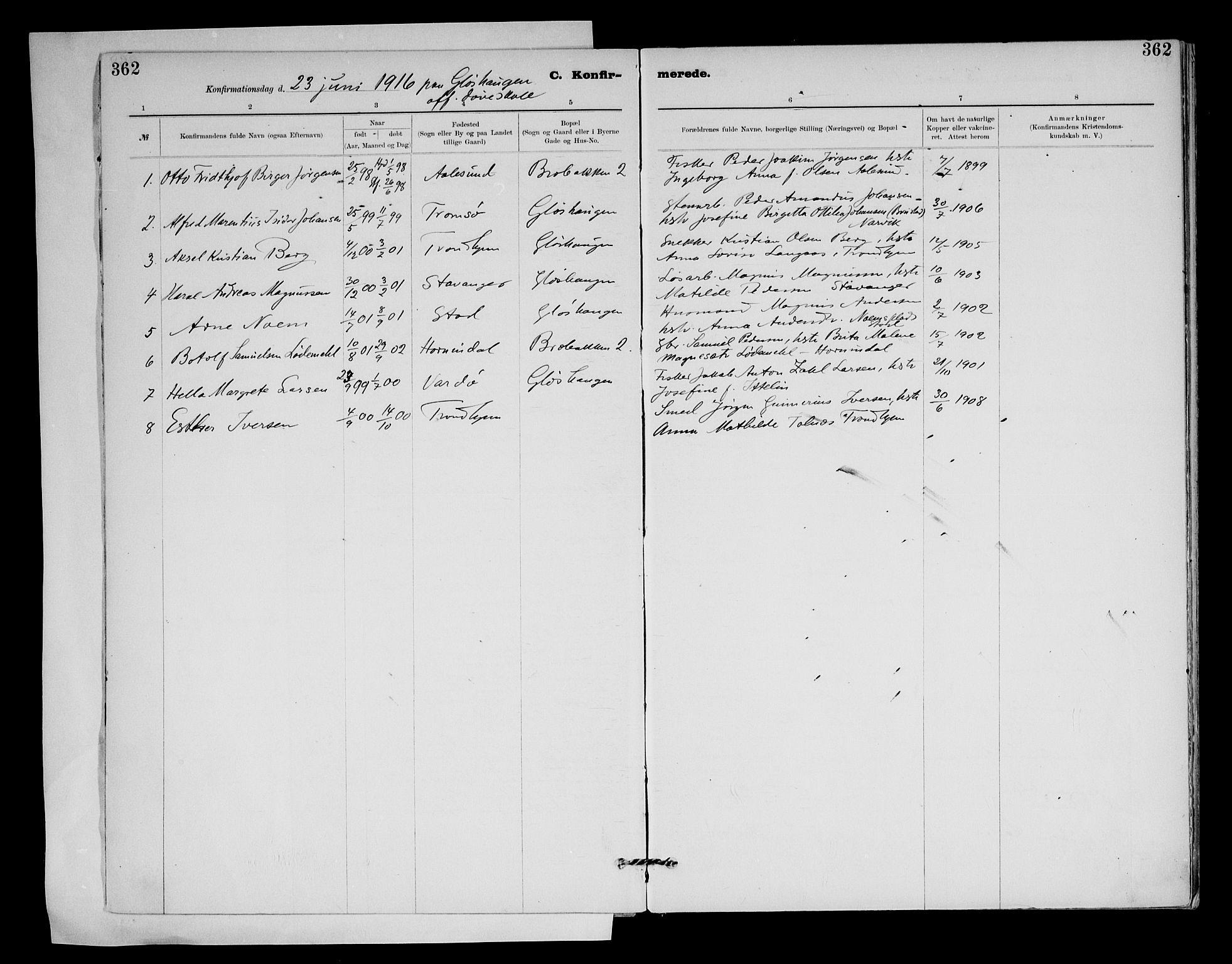 SAT, Ministerialprotokoller, klokkerbøker og fødselsregistre - Sør-Trøndelag, 604/L0203: Ministerialbok nr. 604A23, 1908-1916, s. 362