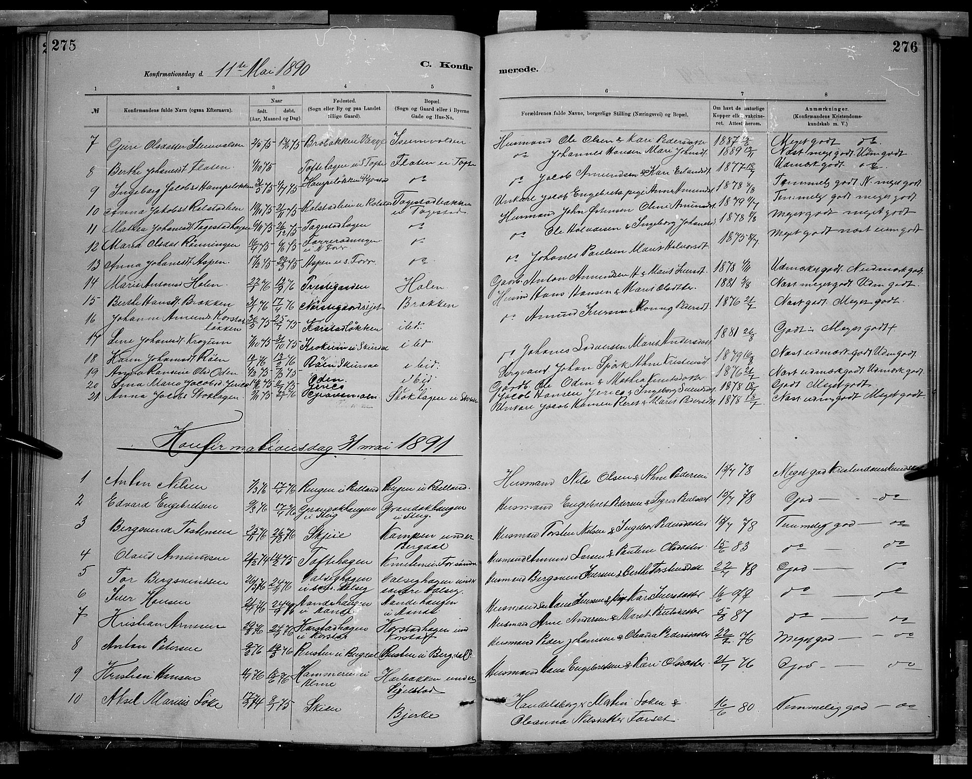 SAH, Sør-Fron prestekontor, H/Ha/Hab/L0003: Klokkerbok nr. 3, 1884-1896, s. 275-276