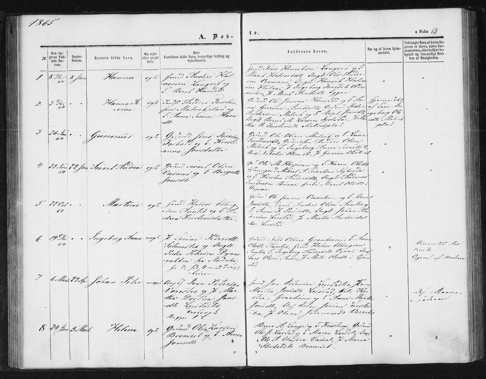 SAT, Ministerialprotokoller, klokkerbøker og fødselsregistre - Sør-Trøndelag, 616/L0408: Ministerialbok nr. 616A05, 1857-1865, s. 68