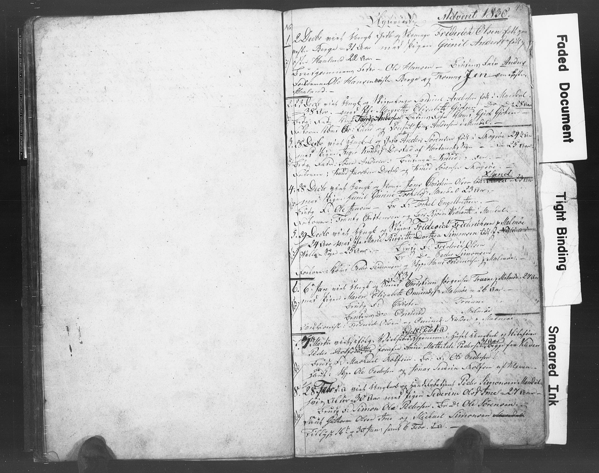 SAK, Mandal sokneprestkontor, F/Fb/Fba/L0003: Klokkerbok nr. B 1B, 1831-1834, s. 43