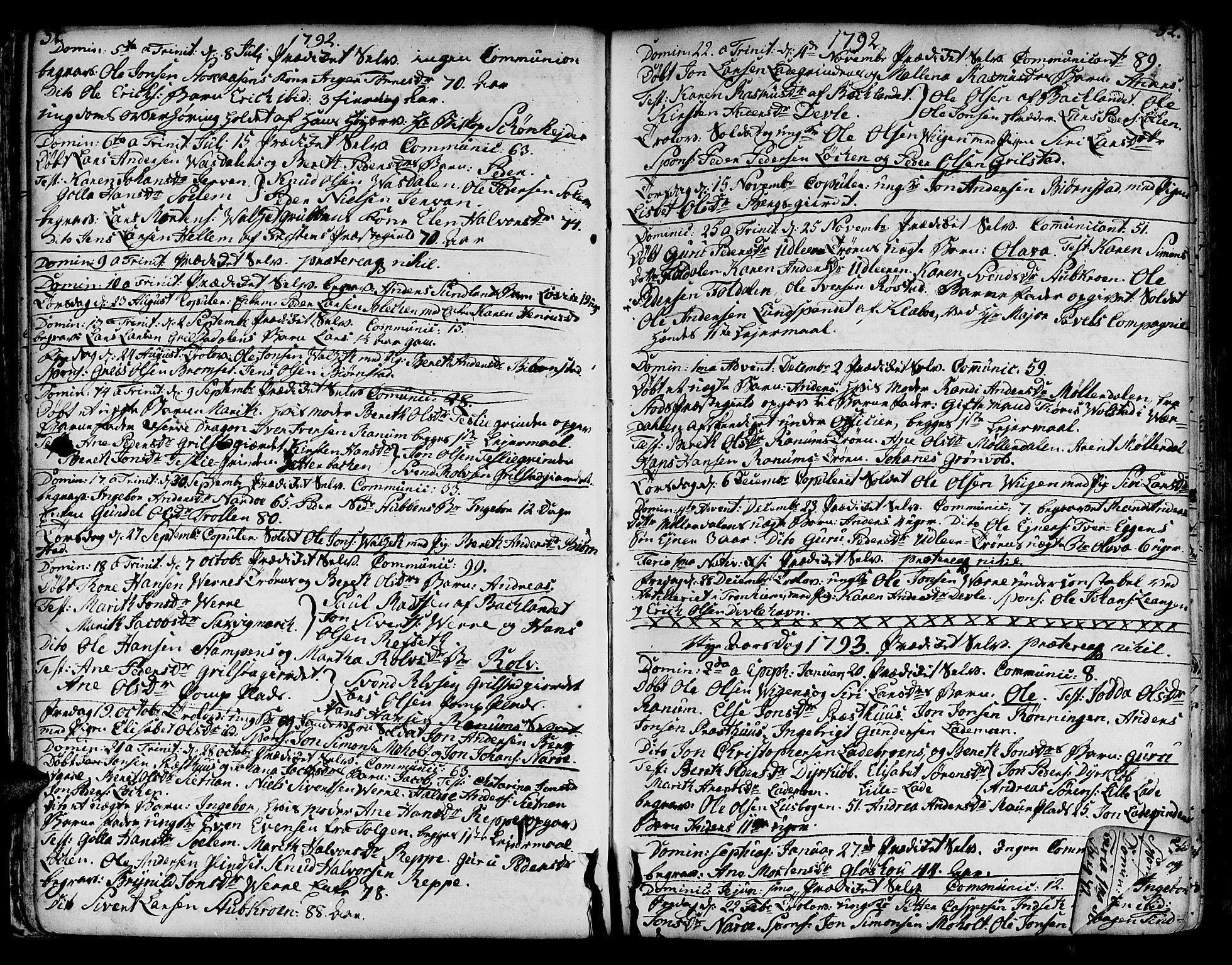 SAT, Ministerialprotokoller, klokkerbøker og fødselsregistre - Sør-Trøndelag, 606/L0280: Ministerialbok nr. 606A02 /1, 1781-1817, s. 51-52