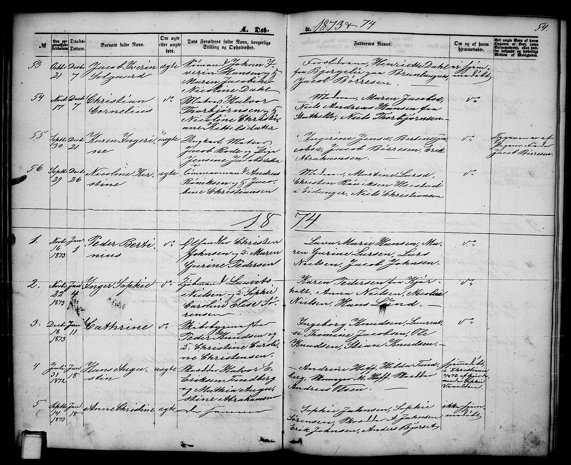 SAKO, Brevik kirkebøker, G/Ga/L0003: Klokkerbok nr. 3, 1866-1881, s. 54