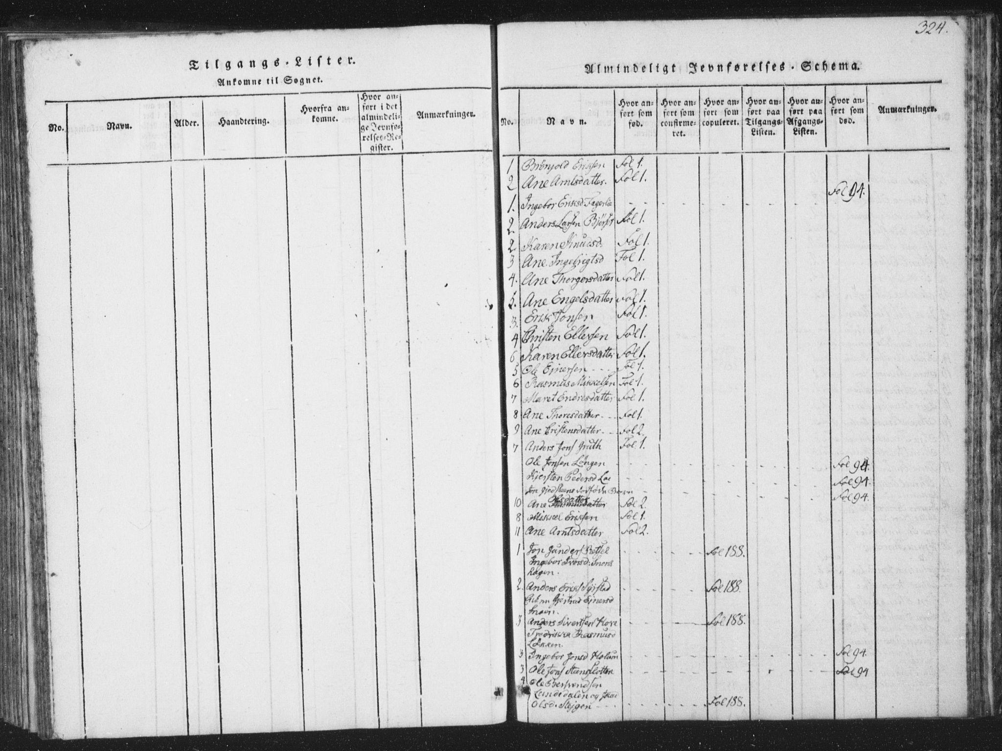 SAT, Ministerialprotokoller, klokkerbøker og fødselsregistre - Sør-Trøndelag, 672/L0862: Klokkerbok nr. 672C01, 1816-1831, s. 324