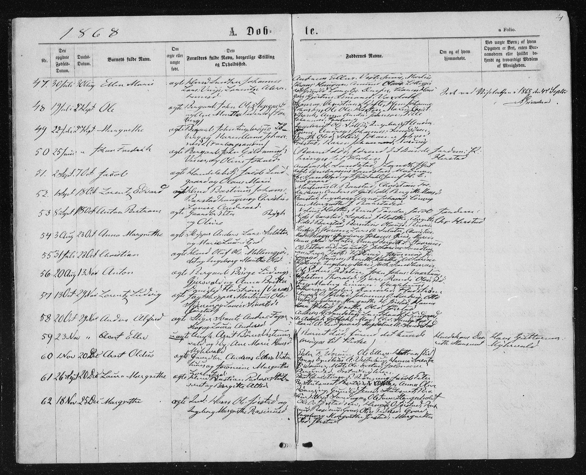SAT, Ministerialprotokoller, klokkerbøker og fødselsregistre - Nord-Trøndelag, 722/L0219: Ministerialbok nr. 722A06, 1868-1880, s. 4