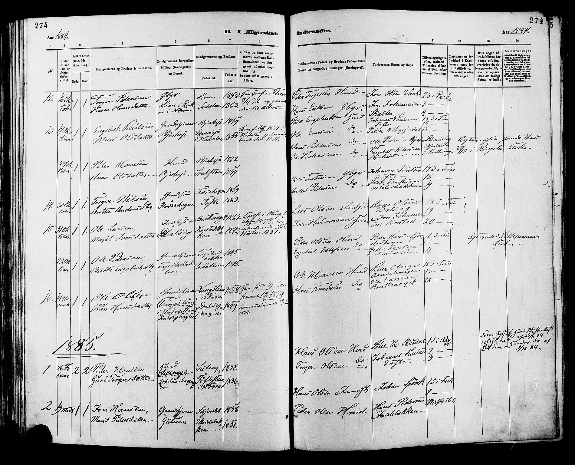 SAH, Sør-Fron prestekontor, H/Ha/Haa/L0003: Ministerialbok nr. 3, 1881-1897, s. 274