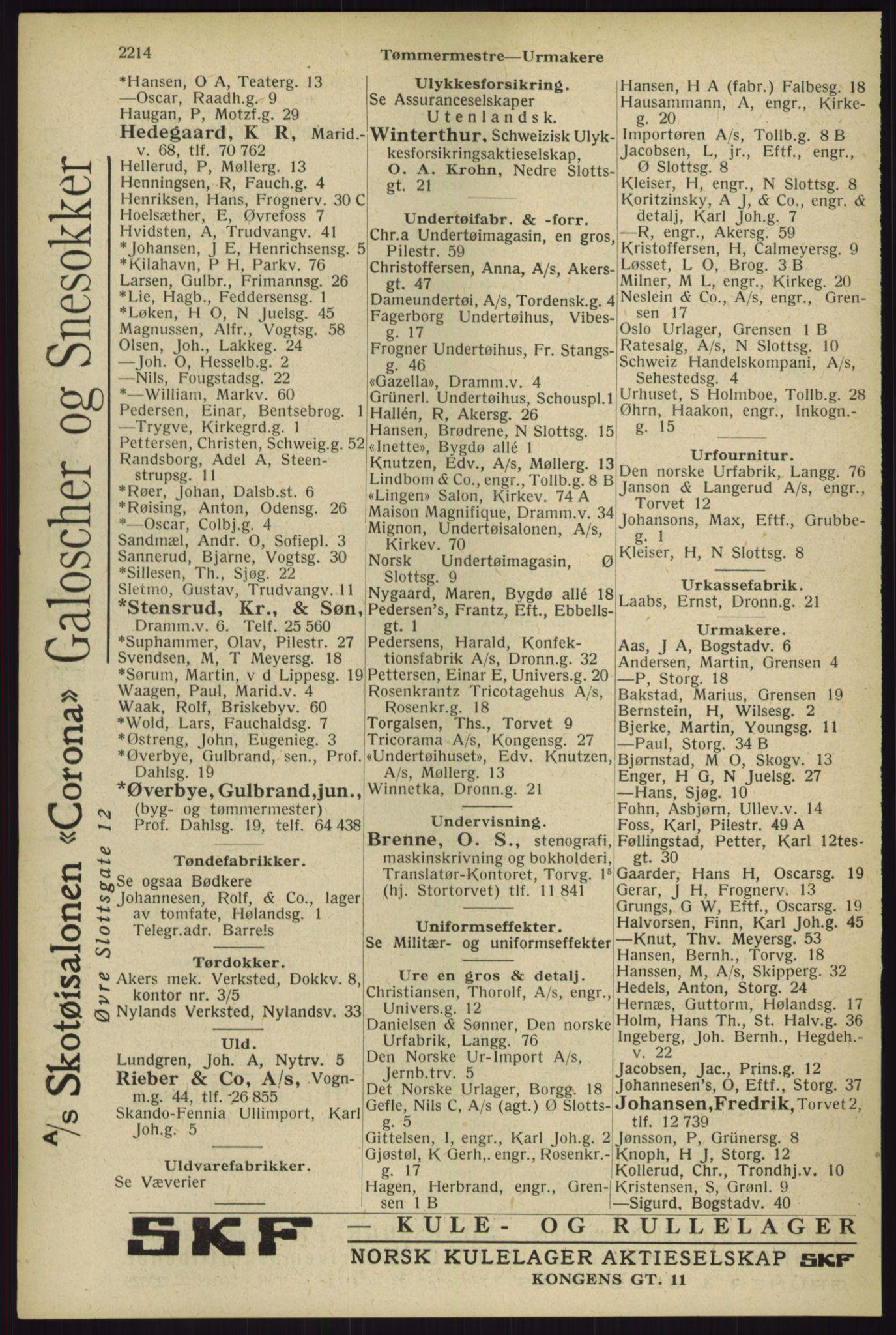 RA, Oslo adressebok (publikasjon)*, 1929, s. 2214