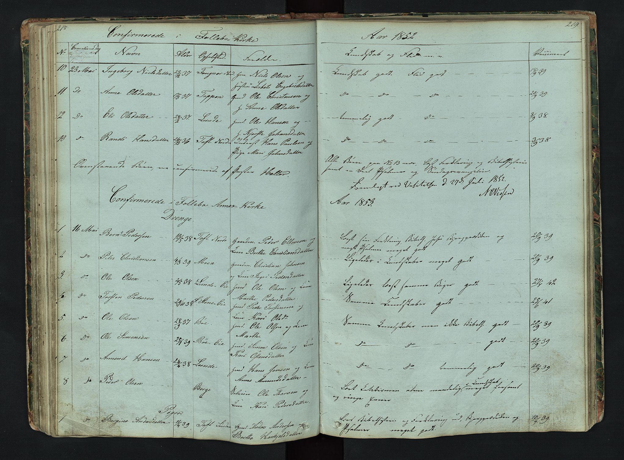 SAH, Gausdal prestekontor, Klokkerbok nr. 6, 1846-1893, s. 218-219