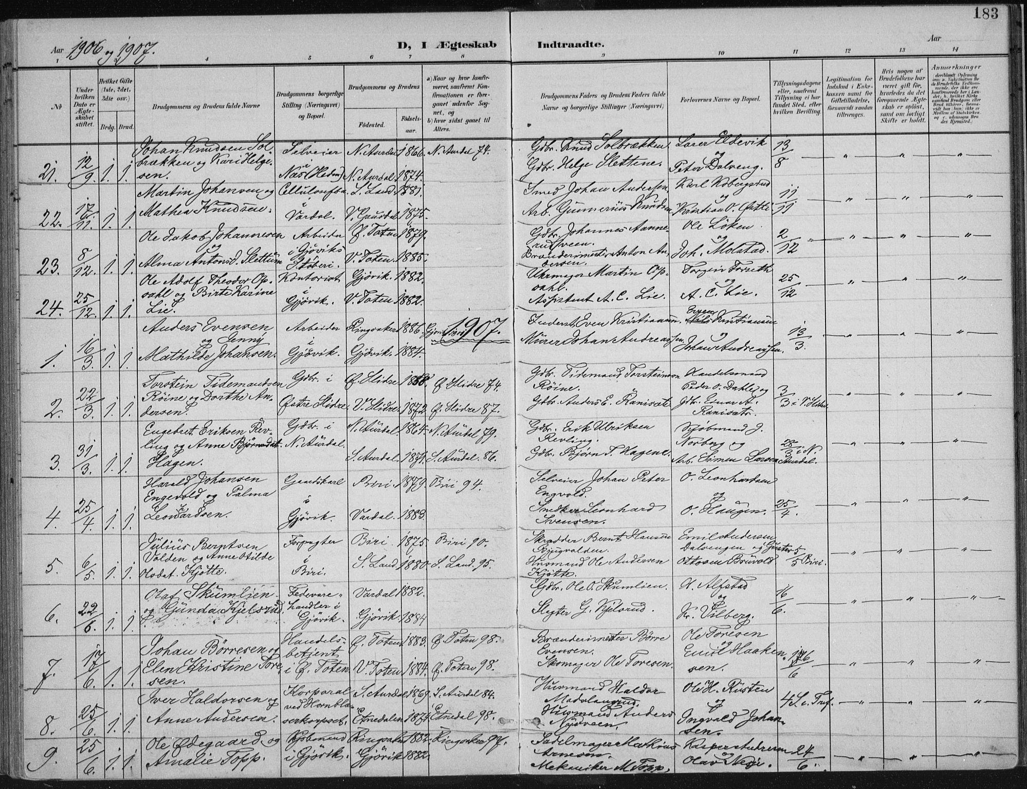 SAH, Vardal prestekontor, H/Ha/Haa/L0013: Ministerialbok nr. 13, 1901-1911, s. 183