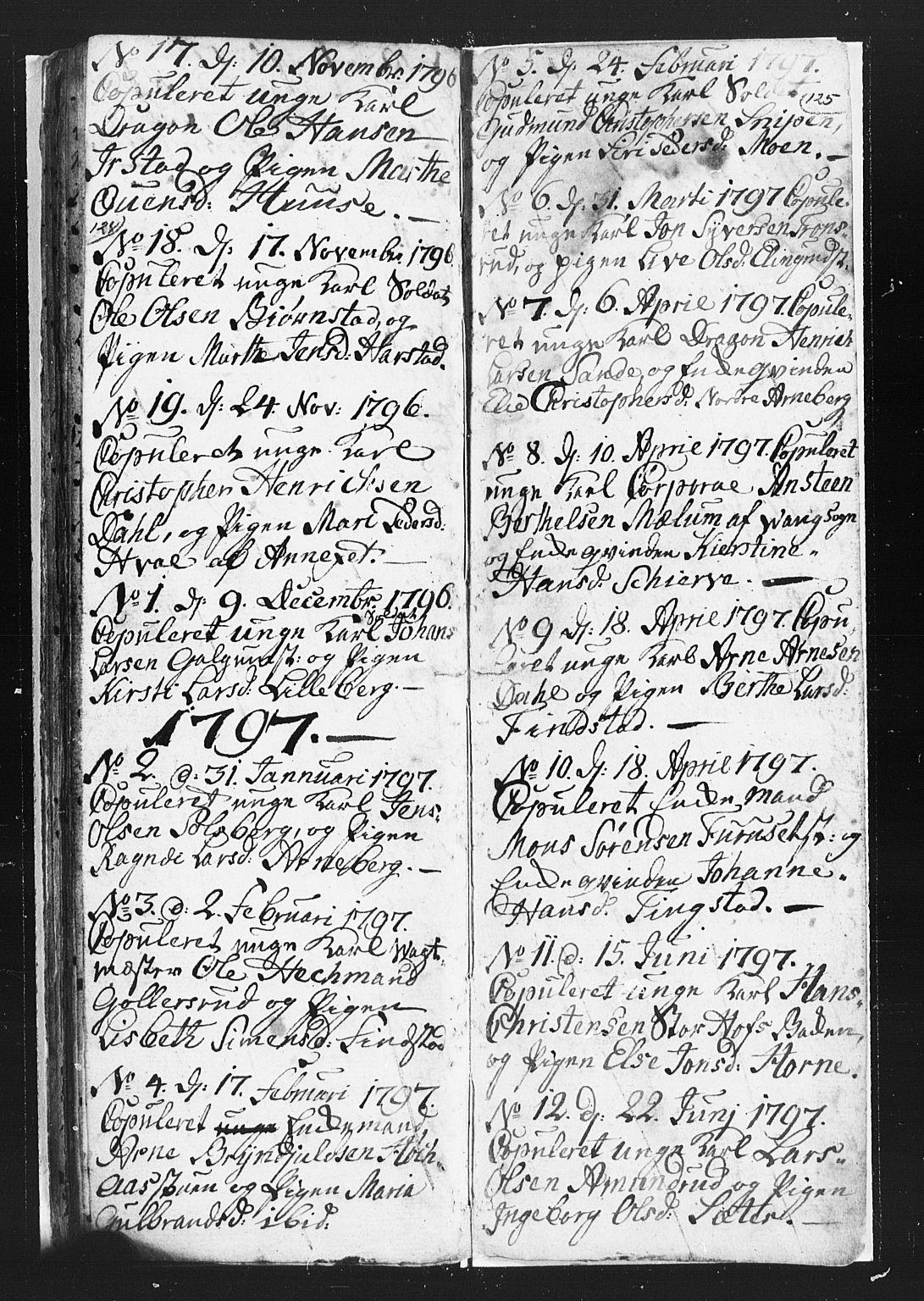 SAH, Romedal prestekontor, L/L0002: Klokkerbok nr. 2, 1795-1800, s. 124-125