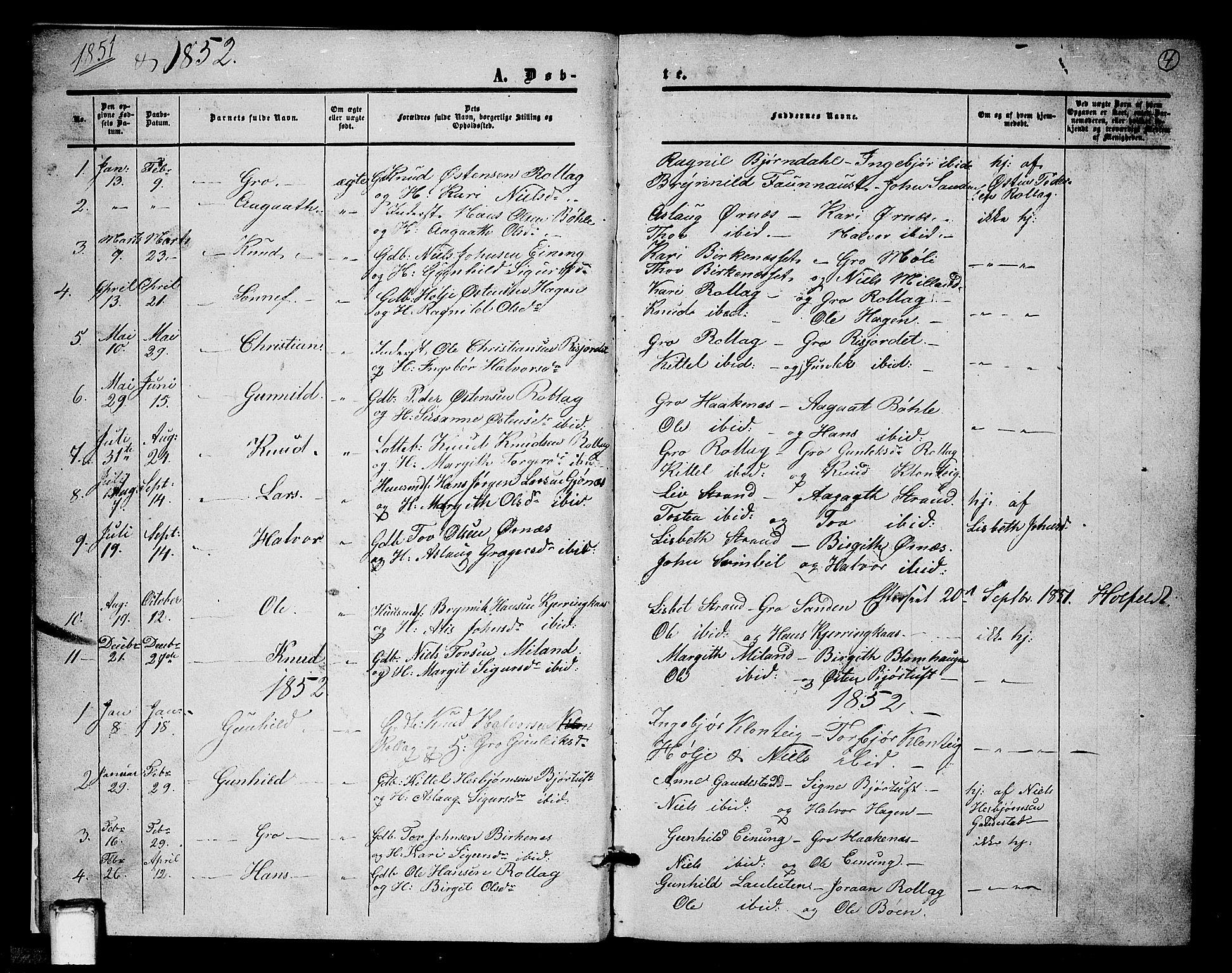 SAKO, Tinn kirkebøker, G/Gb/L0002: Klokkerbok nr. II 2, 1851-1886, s. 4