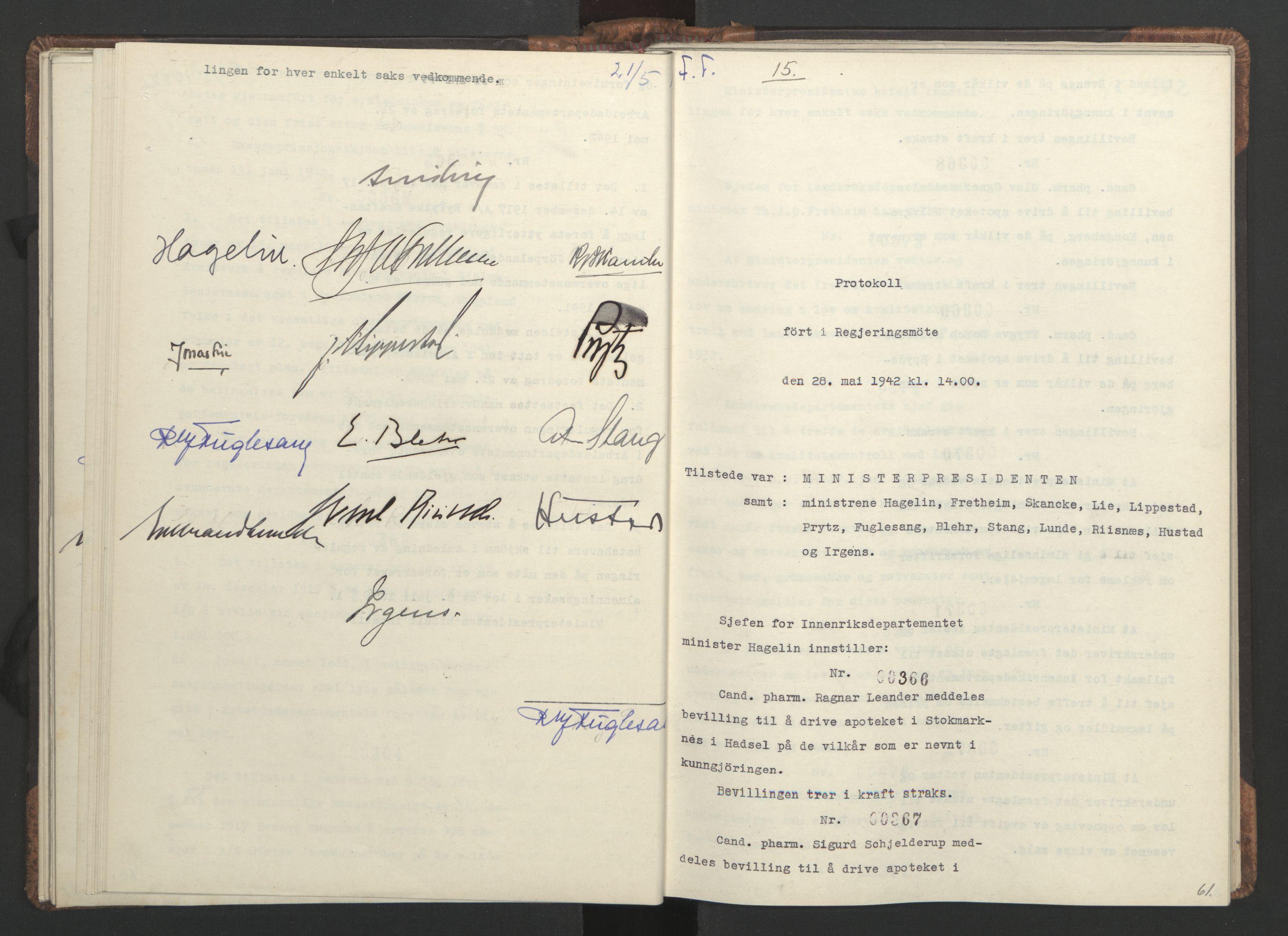 RA, NS-administrasjonen 1940-1945 (Statsrådsekretariatet, de kommisariske statsråder mm), D/Da/L0001: Beslutninger og tillegg (1-952 og 1-32), 1942, s. 60b-61a