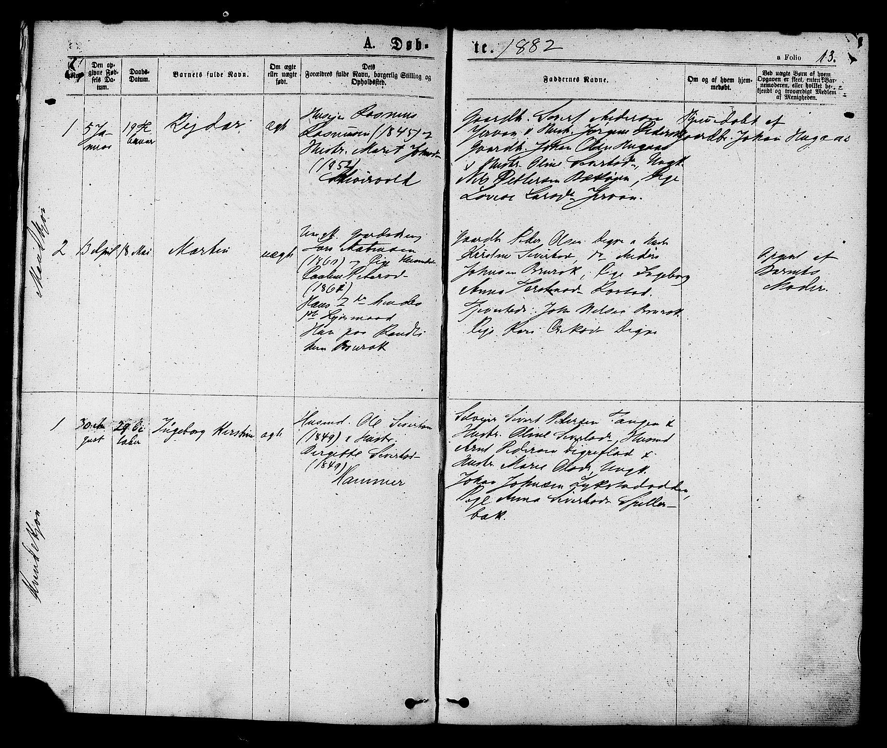 SAT, Ministerialprotokoller, klokkerbøker og fødselsregistre - Sør-Trøndelag, 608/L0334: Ministerialbok nr. 608A03, 1877-1886, s. 13