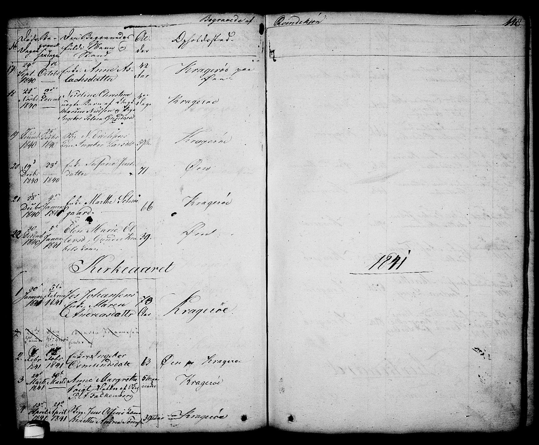 SAKO, Kragerø kirkebøker, G/Ga/L0003: Klokkerbok nr. 3, 1832-1852, s. 148