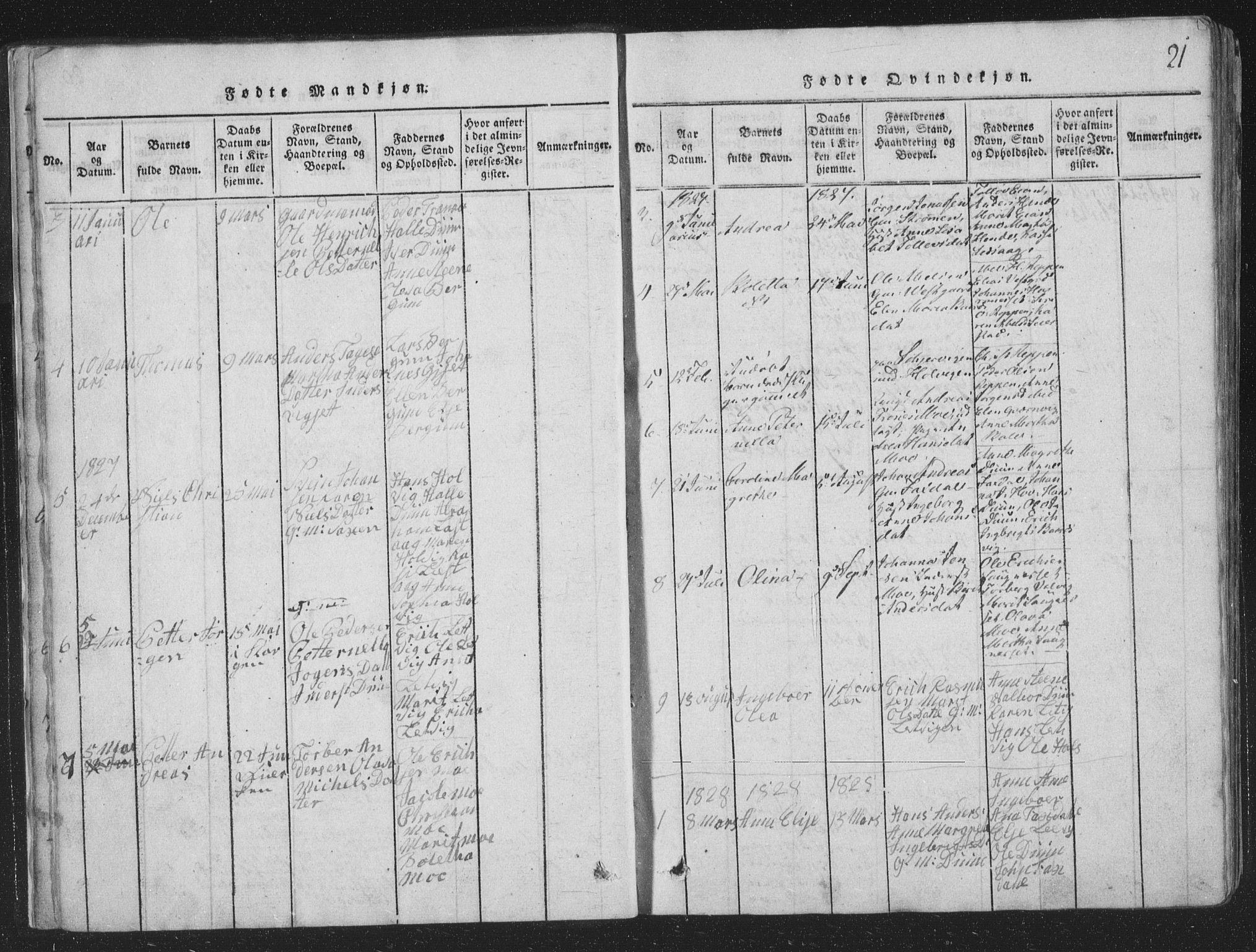 SAT, Ministerialprotokoller, klokkerbøker og fødselsregistre - Nord-Trøndelag, 773/L0613: Ministerialbok nr. 773A04, 1815-1845, s. 21