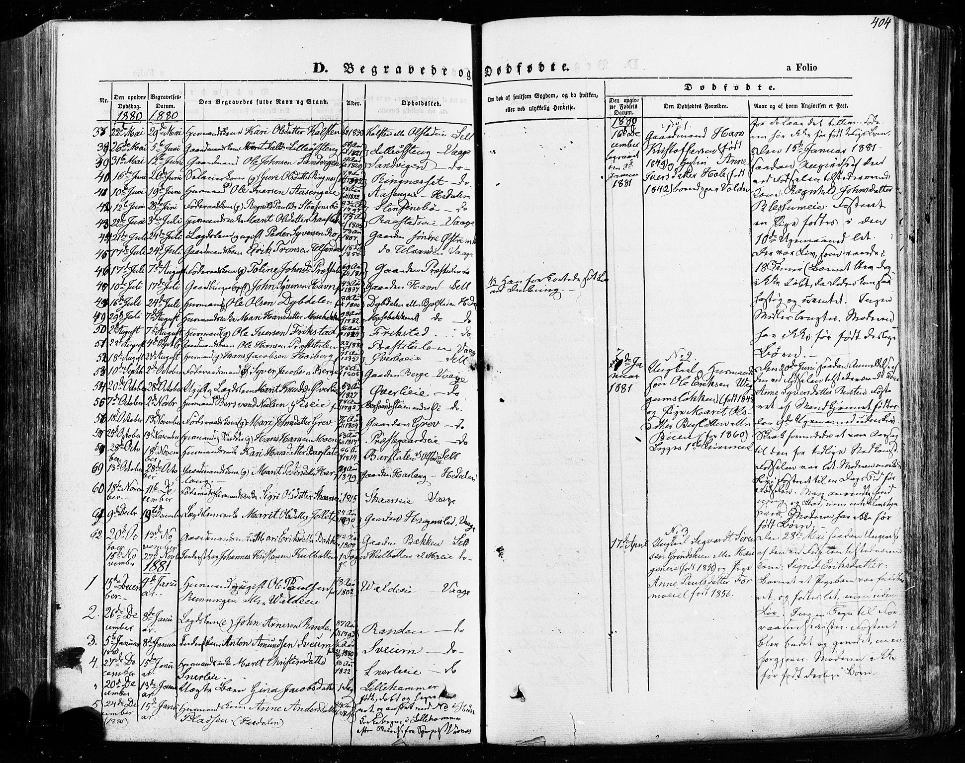 SAH, Vågå prestekontor, Ministerialbok nr. 7 /1, 1872-1886, s. 404