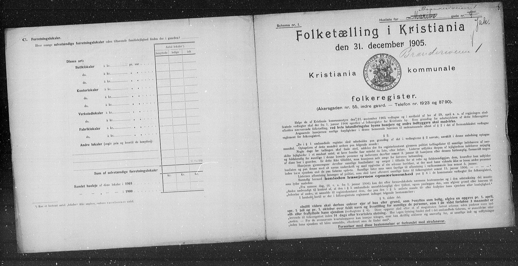 OBA, Kommunal folketelling 1905 for Kristiania kjøpstad, 1905, s. 5241