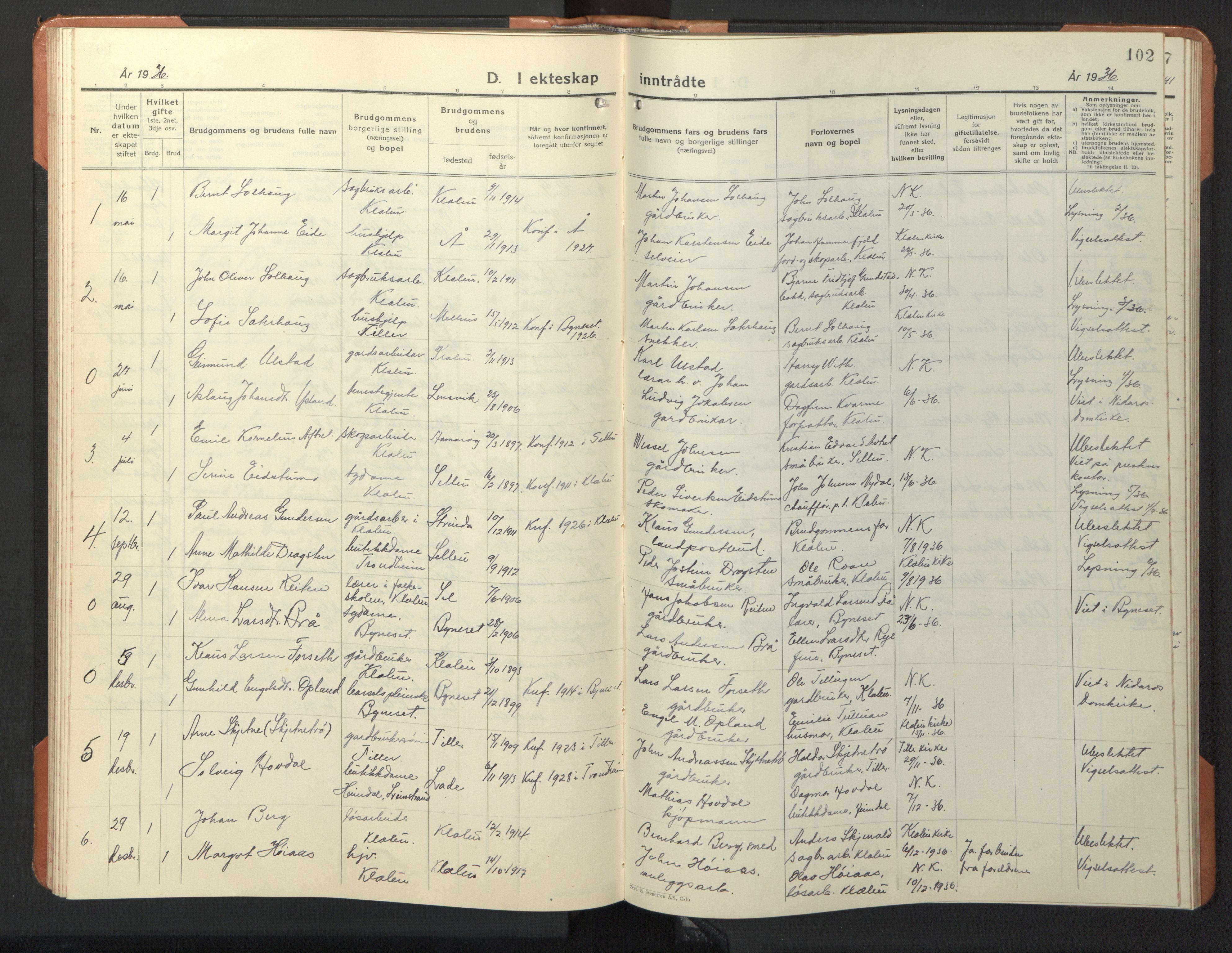 SAT, Ministerialprotokoller, klokkerbøker og fødselsregistre - Sør-Trøndelag, 618/L0454: Klokkerbok nr. 618C05, 1926-1946, s. 102