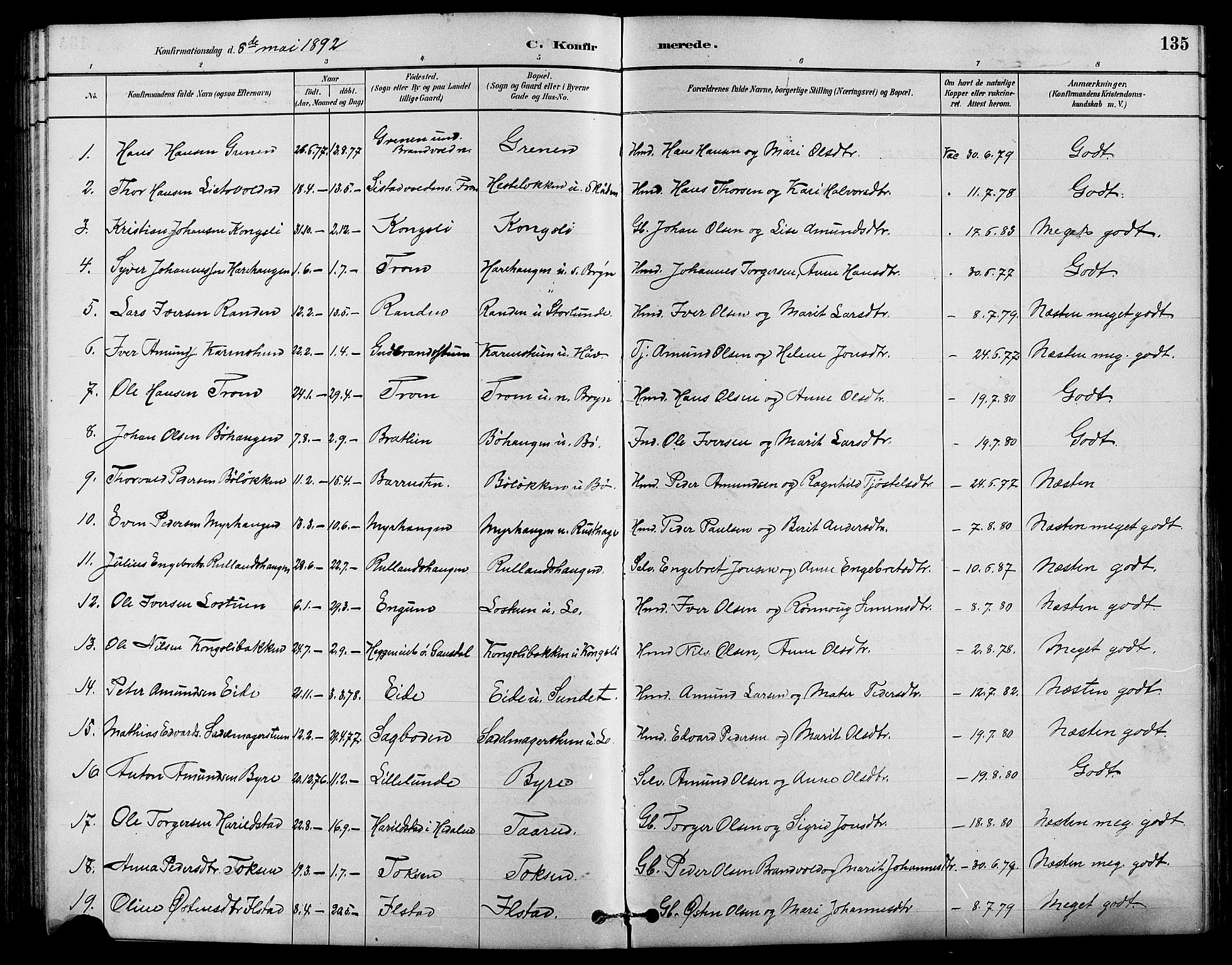SAH, Nord-Fron prestekontor, Klokkerbok nr. 4, 1884-1914, s. 135