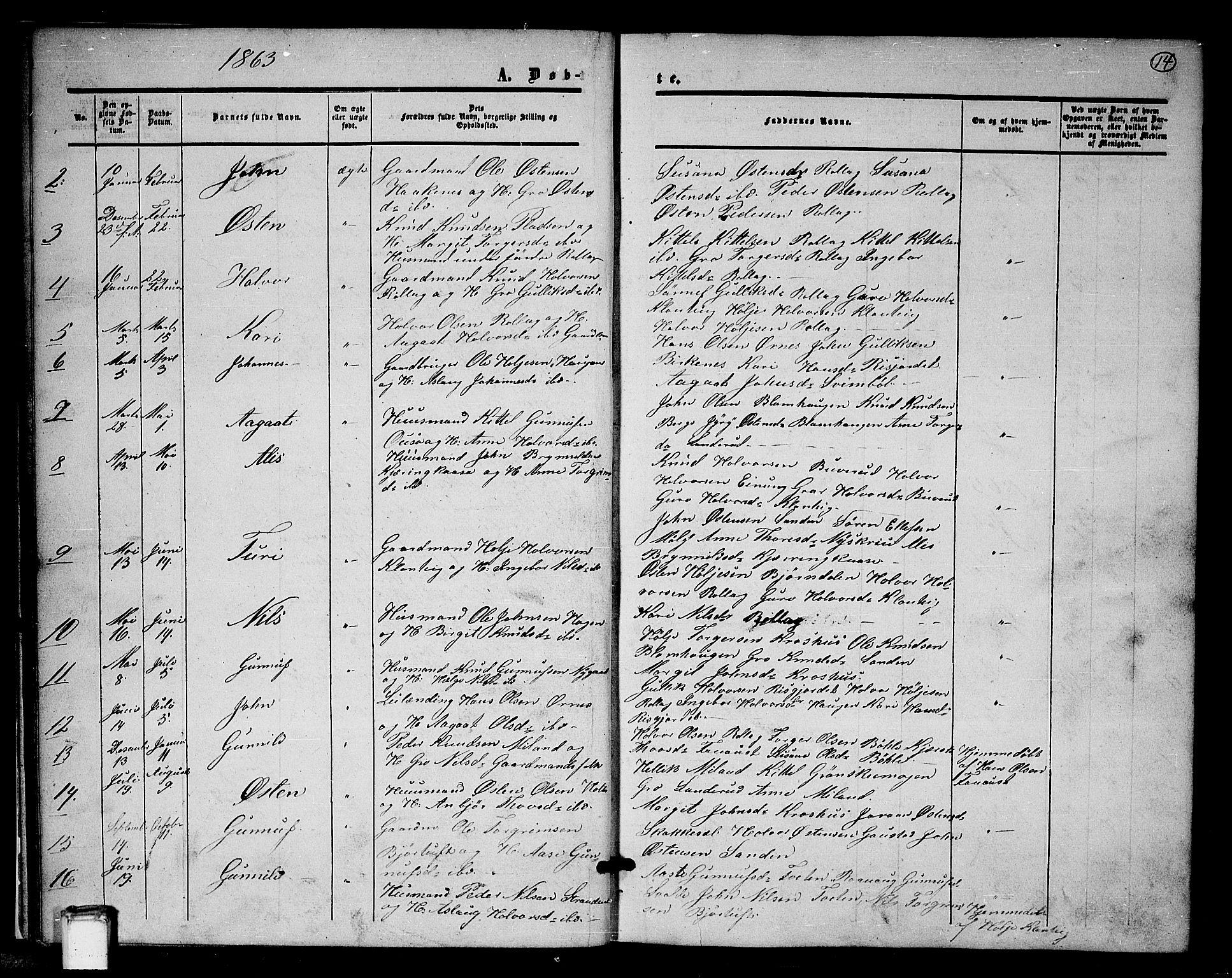 SAKO, Tinn kirkebøker, G/Gb/L0002: Klokkerbok nr. II 2, 1851-1886, s. 14