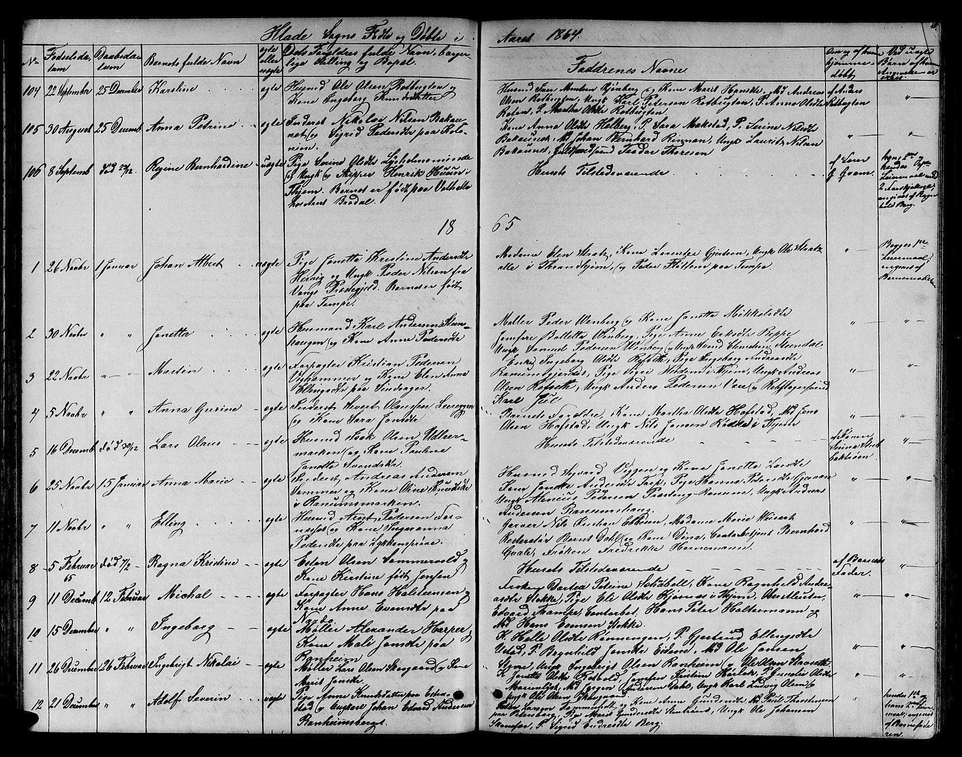 SAT, Ministerialprotokoller, klokkerbøker og fødselsregistre - Sør-Trøndelag, 606/L0311: Klokkerbok nr. 606C07, 1860-1877, s. 45