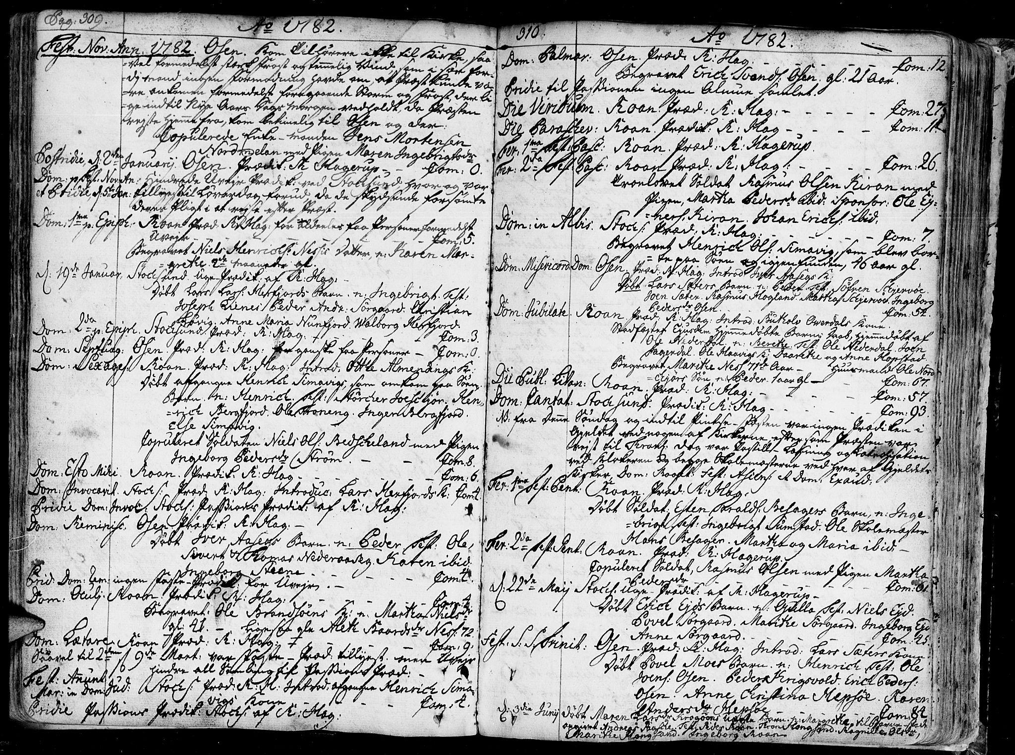 SAT, Ministerialprotokoller, klokkerbøker og fødselsregistre - Sør-Trøndelag, 657/L0700: Ministerialbok nr. 657A01, 1732-1801, s. 309-310