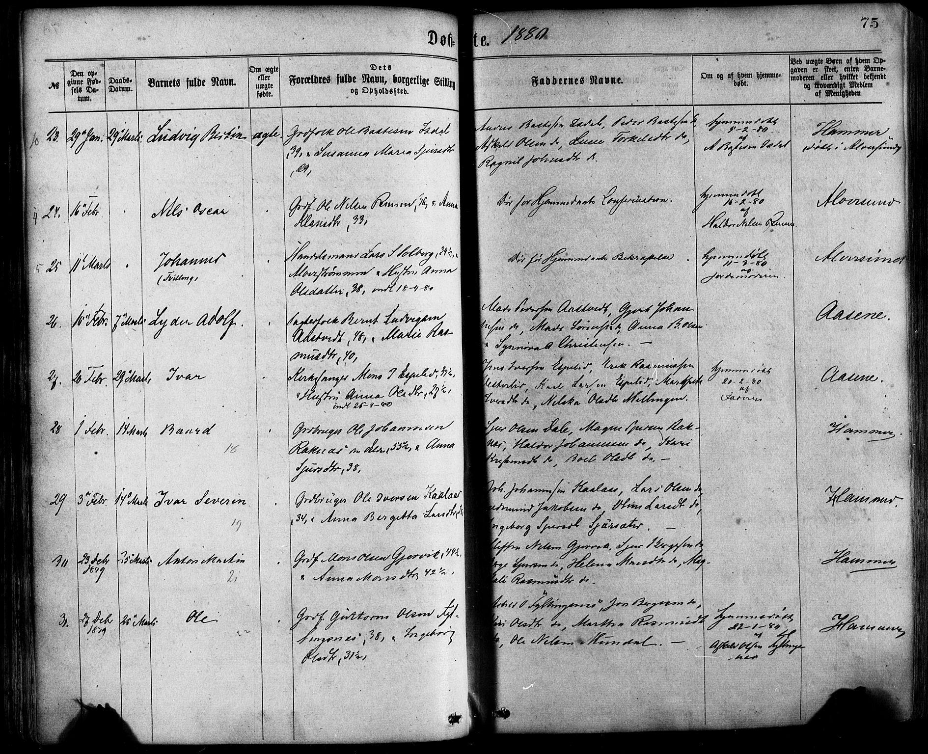 SAB, Hamre Sokneprestembete, H/Haa: Ministerialbok nr. A 15, 1870-1881, s. 75