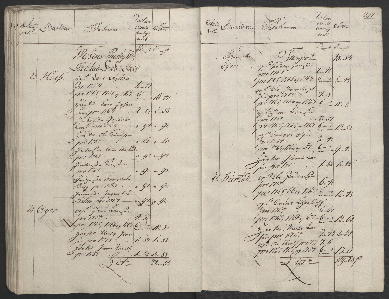 RA, Rentekammeret inntil 1814, Realistisk ordnet avdeling, Ol/L0023: [Gg 10]: Ekstraskatten, 23.09.1762. Helgeland (restanseregister), 1767-1772, s. 214