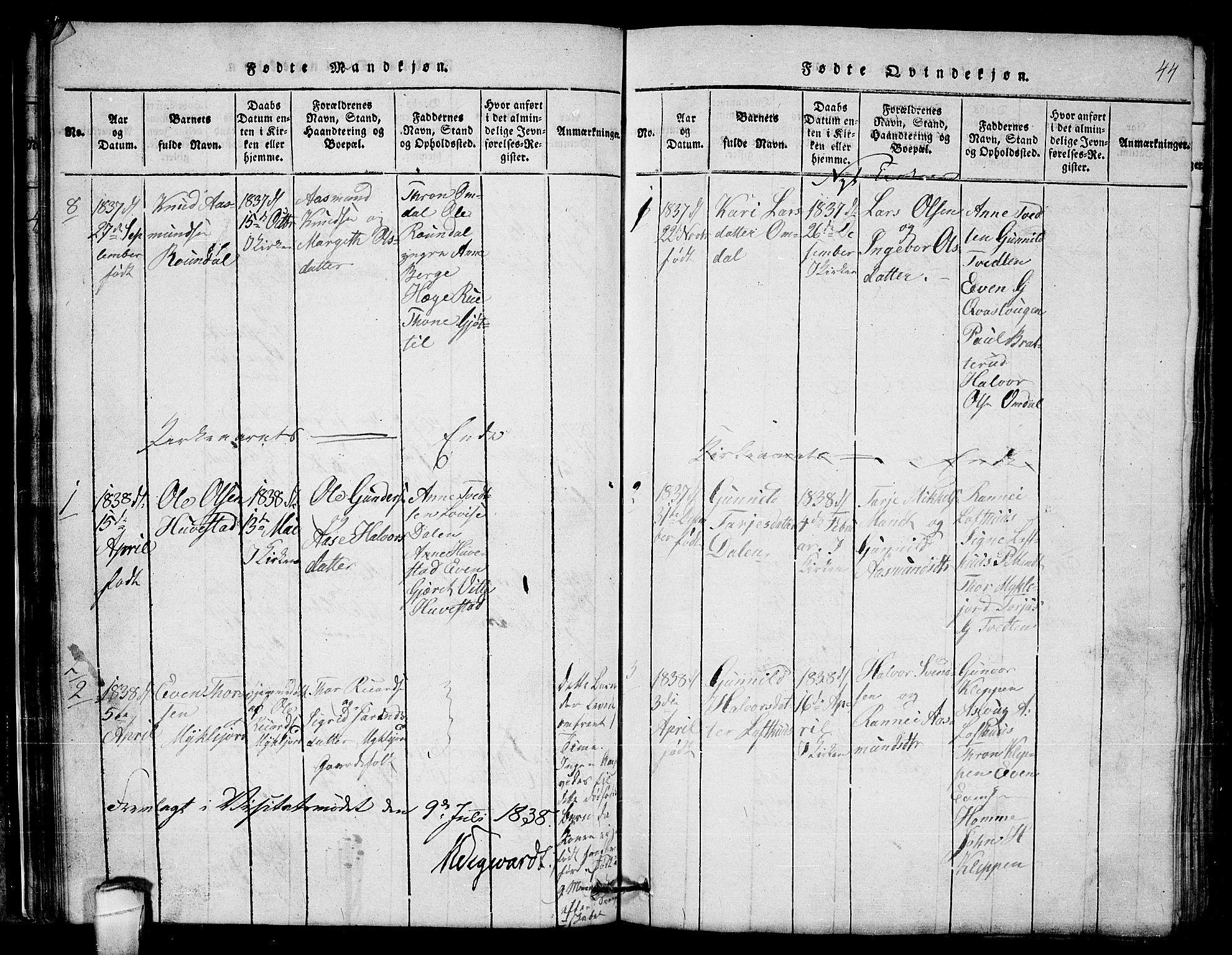 SAKO, Lårdal kirkebøker, G/Gb/L0001: Klokkerbok nr. II 1, 1815-1865, s. 44