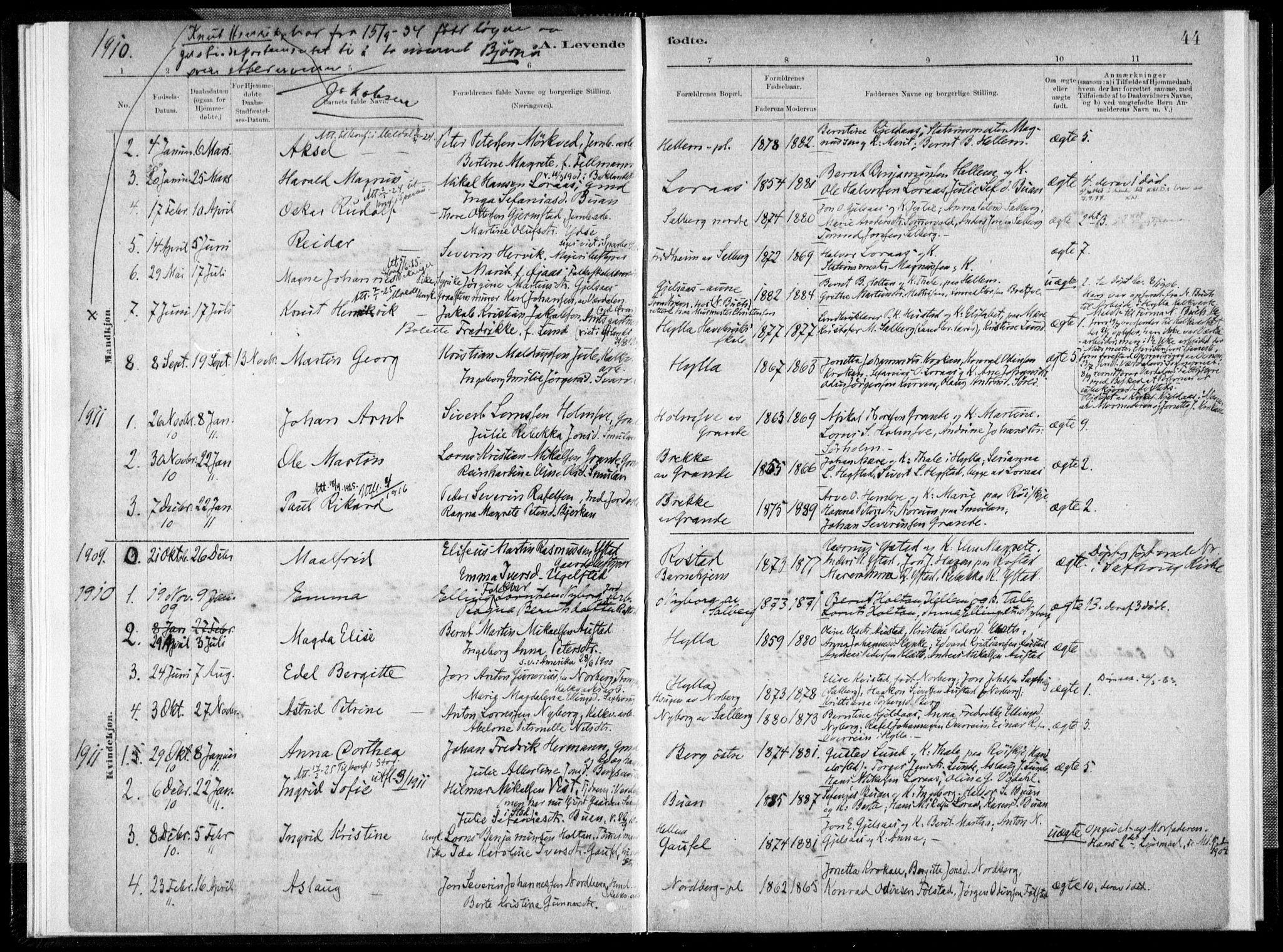 SAT, Ministerialprotokoller, klokkerbøker og fødselsregistre - Nord-Trøndelag, 731/L0309: Ministerialbok nr. 731A01, 1879-1918, s. 44