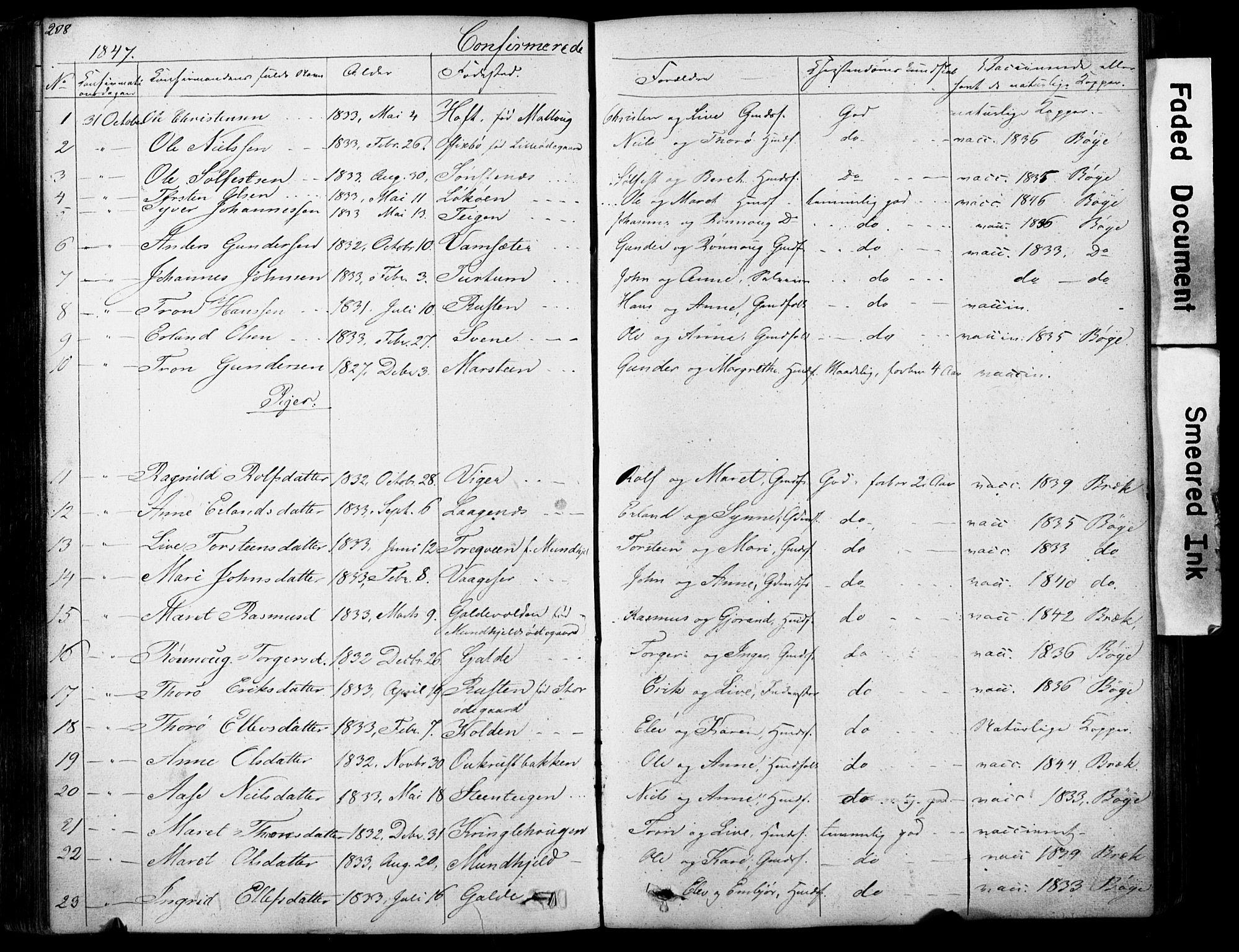 SAH, Lom prestekontor, L/L0012: Klokkerbok nr. 12, 1845-1873, s. 208-209