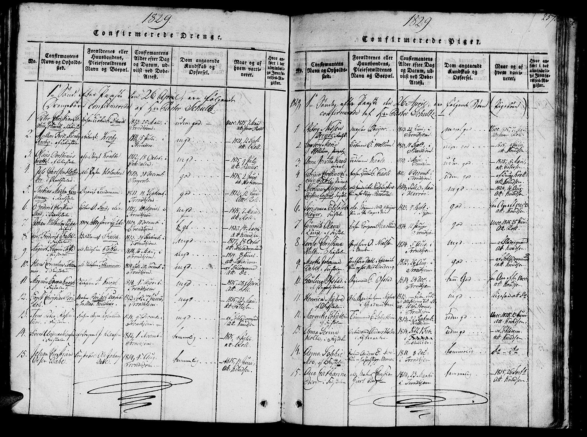 SAT, Ministerialprotokoller, klokkerbøker og fødselsregistre - Sør-Trøndelag, 602/L0135: Klokkerbok nr. 602C03, 1815-1832, s. 257