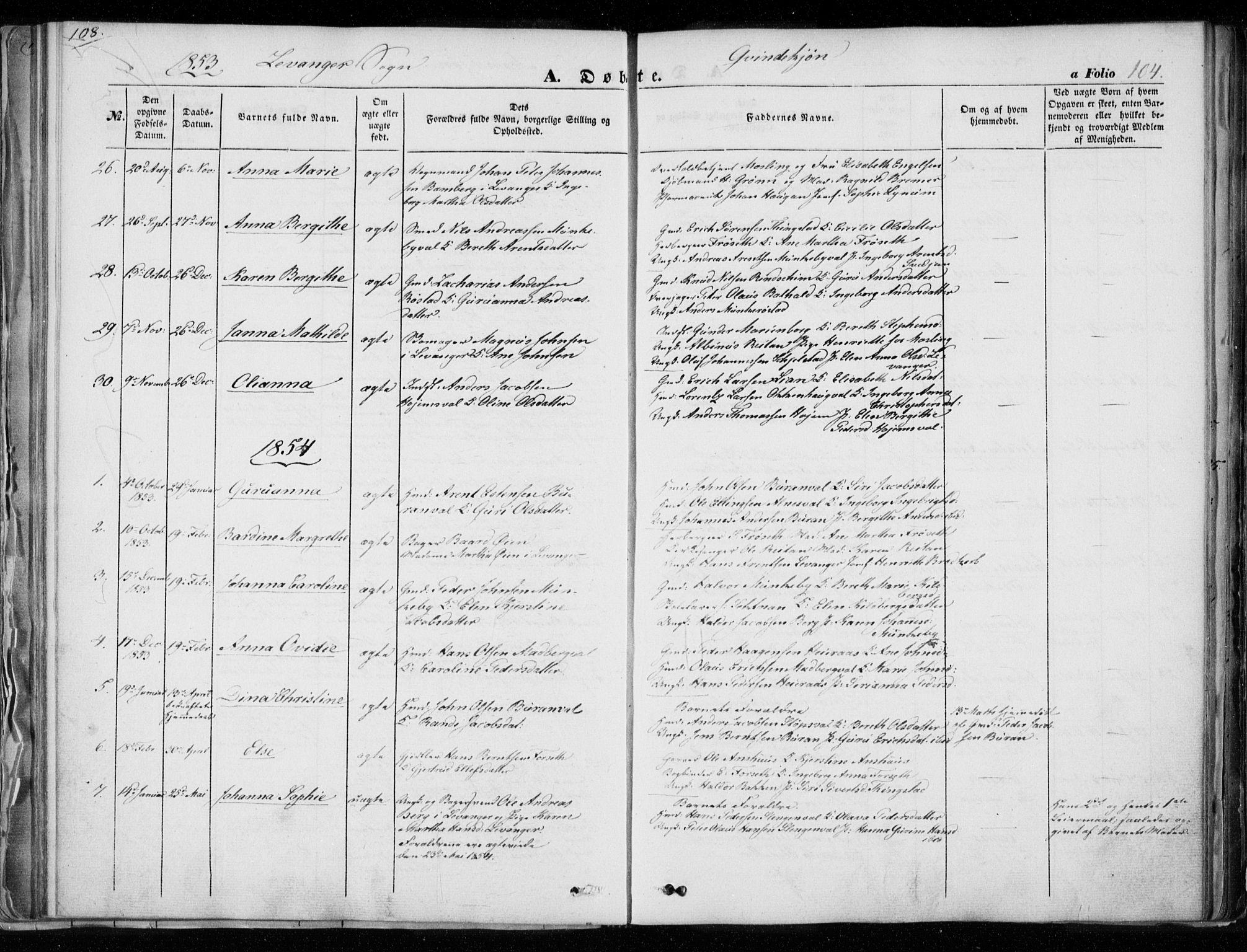 SAT, Ministerialprotokoller, klokkerbøker og fødselsregistre - Nord-Trøndelag, 720/L0183: Ministerialbok nr. 720A01, 1836-1855, s. 104