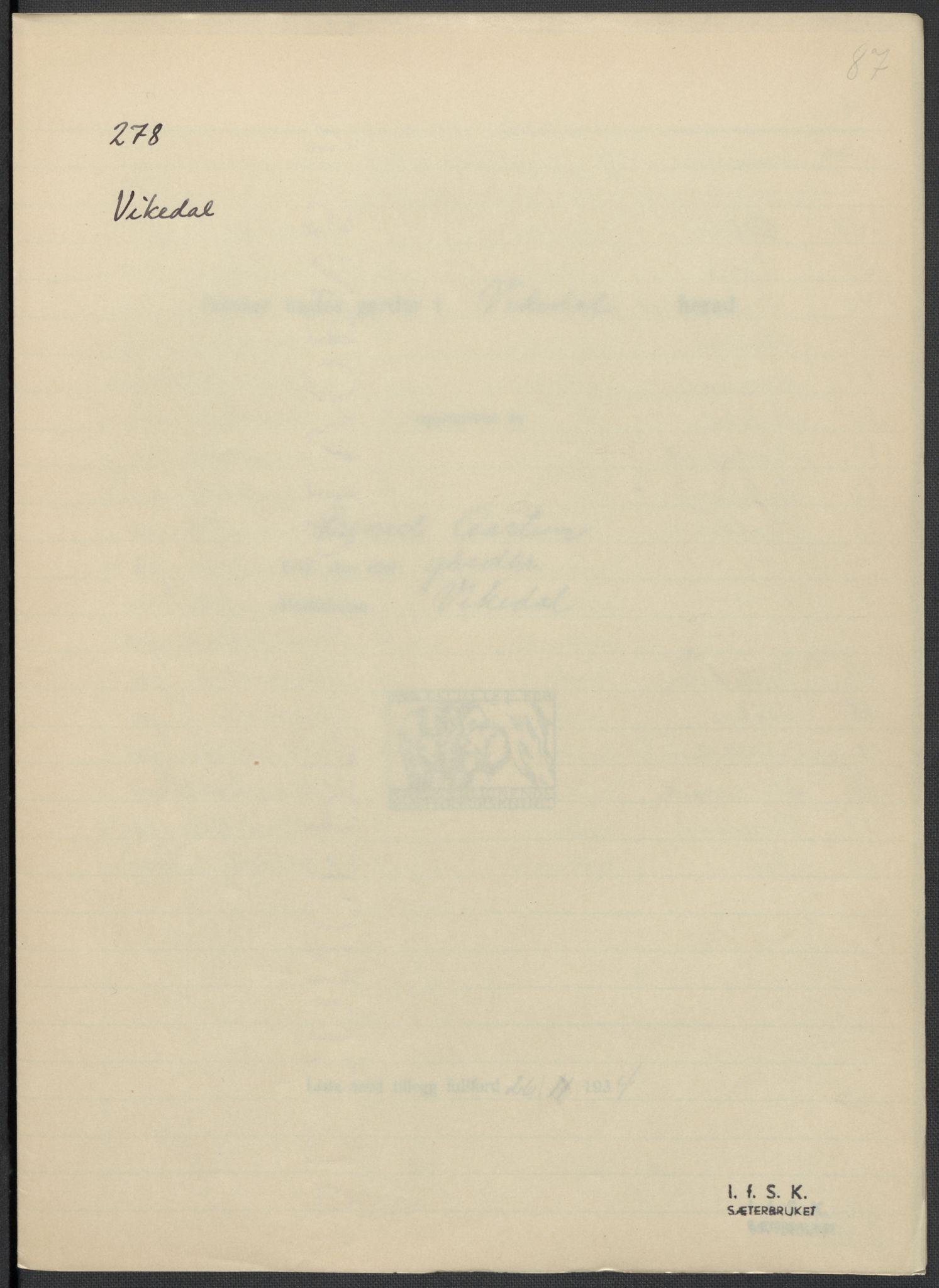 RA, Instituttet for sammenlignende kulturforskning, F/Fc/L0009: Eske B9:, 1932-1935, s. 87
