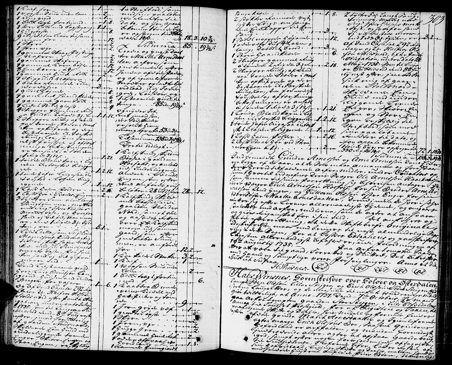 SAH, Solør og Østerdalen sorenskriveri, J/Ja/L0005: Skifteprotokoll, 1735-1738, s. 302b-303a