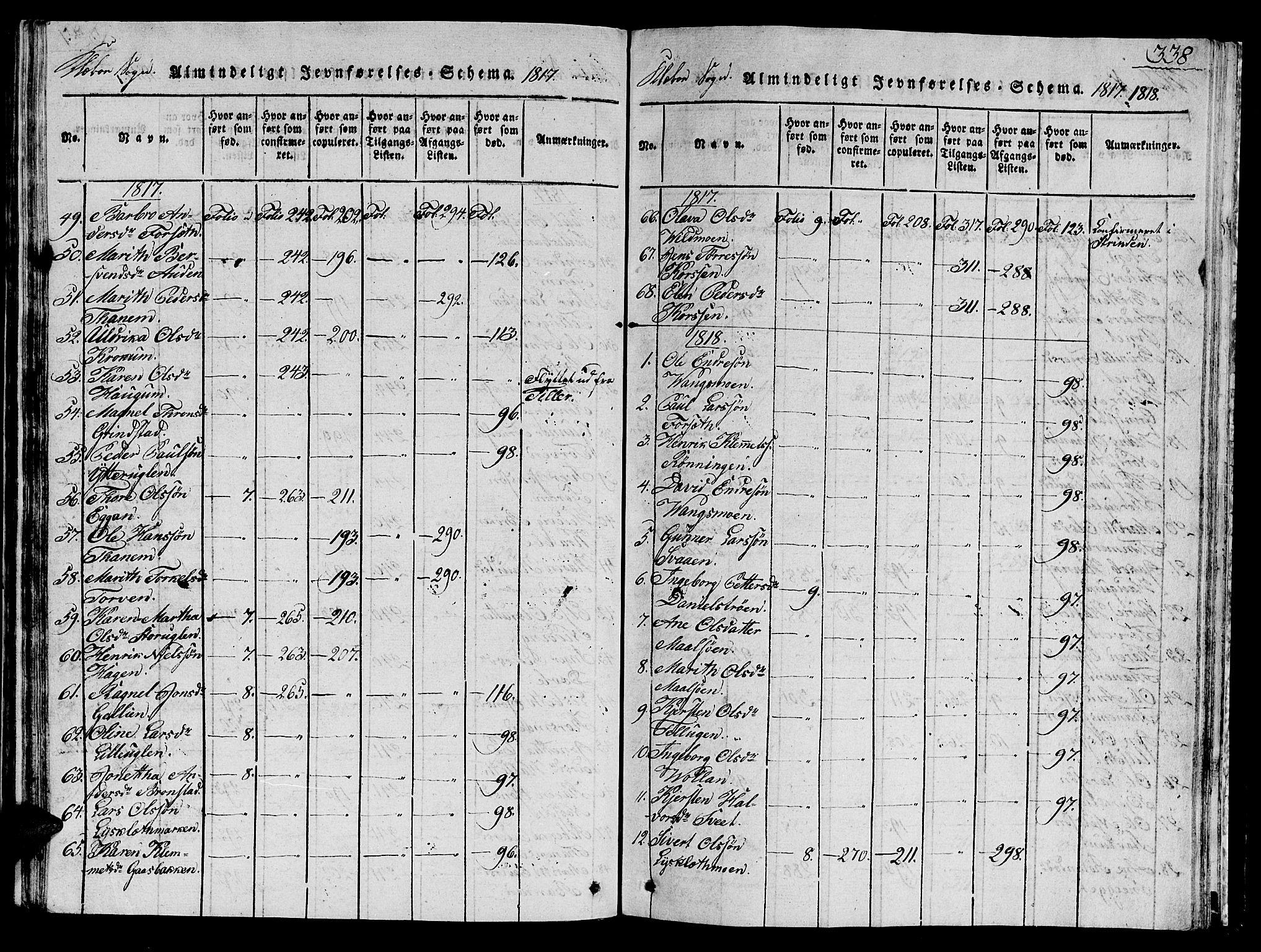 SAT, Ministerialprotokoller, klokkerbøker og fødselsregistre - Sør-Trøndelag, 618/L0450: Klokkerbok nr. 618C01, 1816-1865, s. 338