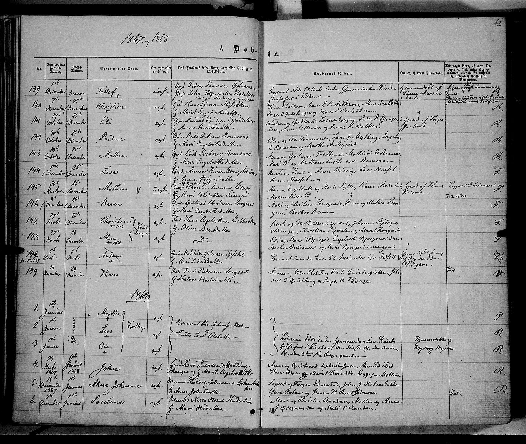 SAH, Ringebu prestekontor, Ministerialbok nr. 7, 1860-1877, s. 62