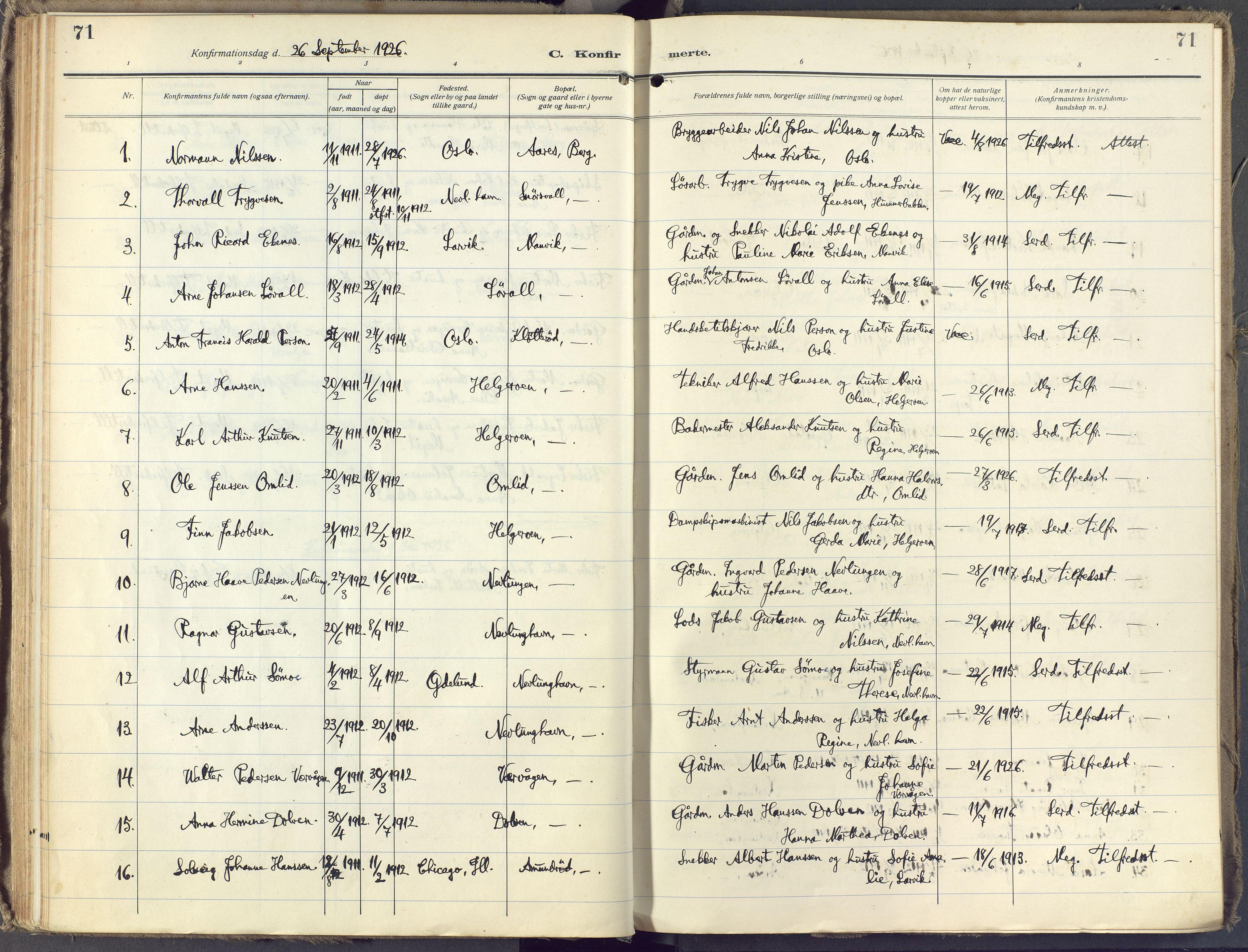 SAKO, Brunlanes kirkebøker, F/Fb/L0004: Ministerialbok nr. II 4, 1923-1940, s. 71