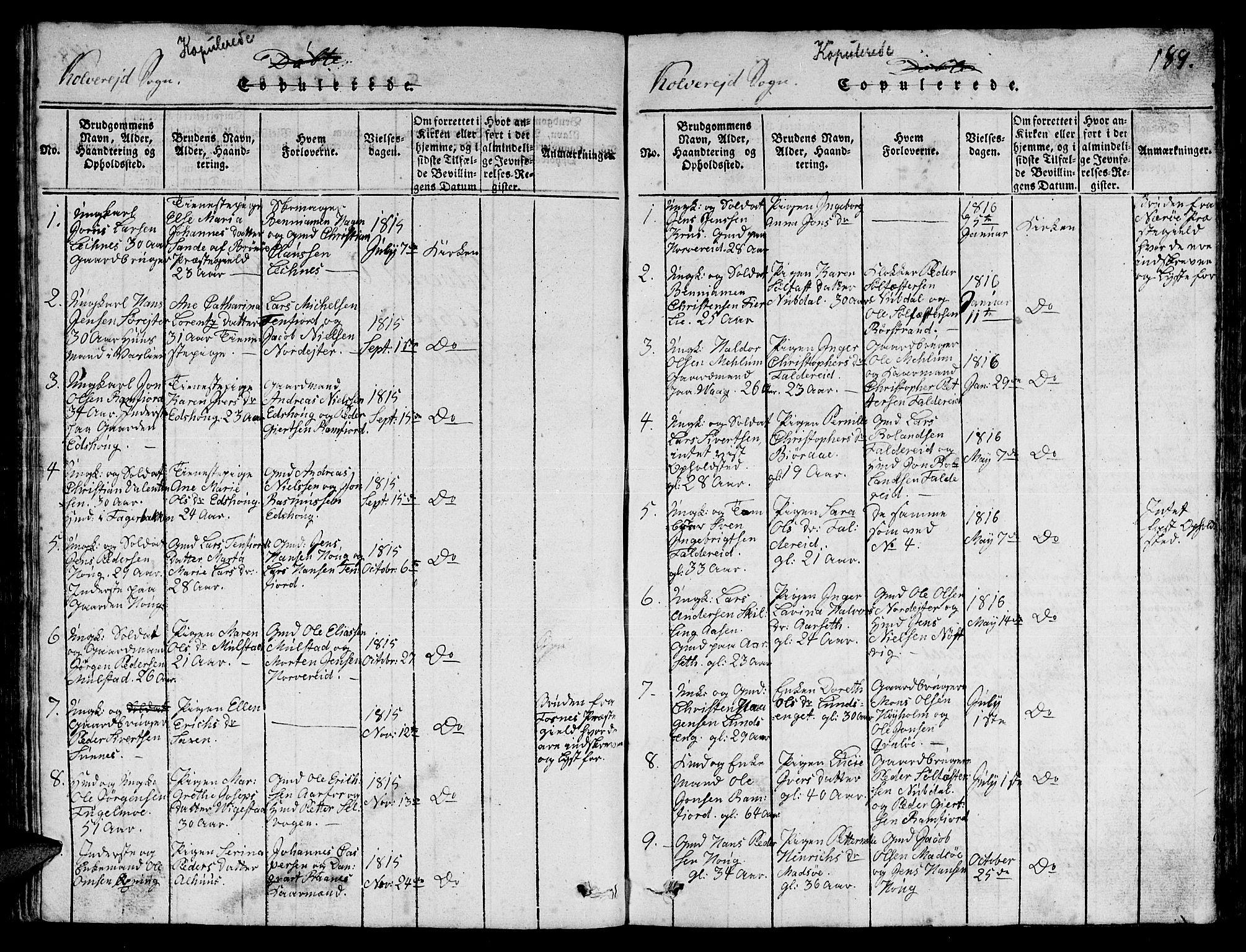SAT, Ministerialprotokoller, klokkerbøker og fødselsregistre - Nord-Trøndelag, 780/L0648: Klokkerbok nr. 780C01 /1, 1815-1870, s. 189