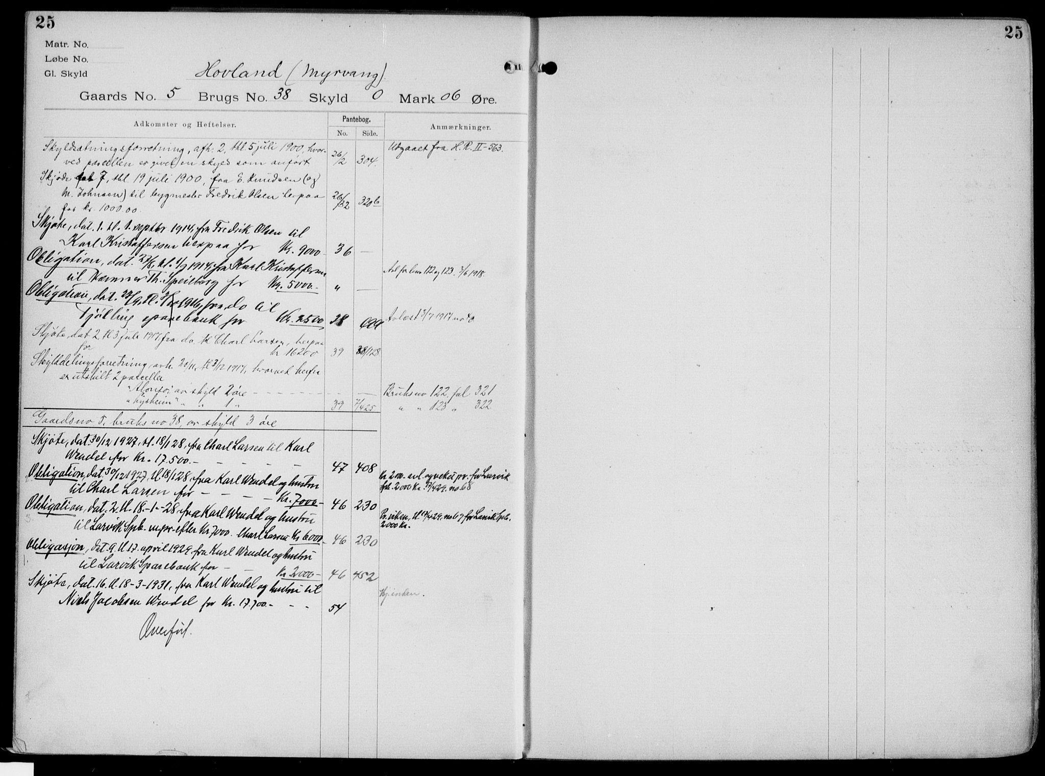 SAKO, Larvik sorenskriveri, G/Gb/Gbg/L0003a: Panteregister nr. VI 3, s. 25
