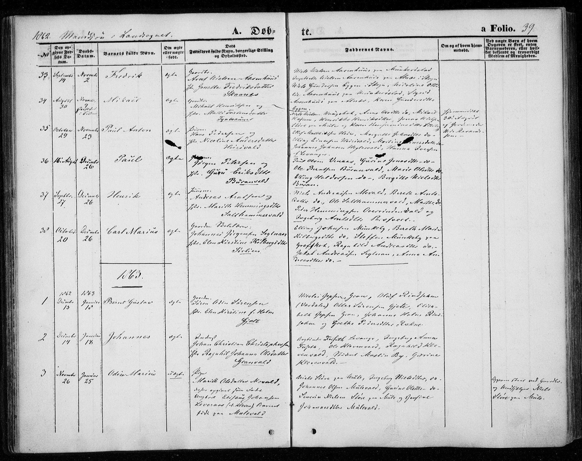 SAT, Ministerialprotokoller, klokkerbøker og fødselsregistre - Nord-Trøndelag, 720/L0184: Ministerialbok nr. 720A02 /2, 1855-1863, s. 39