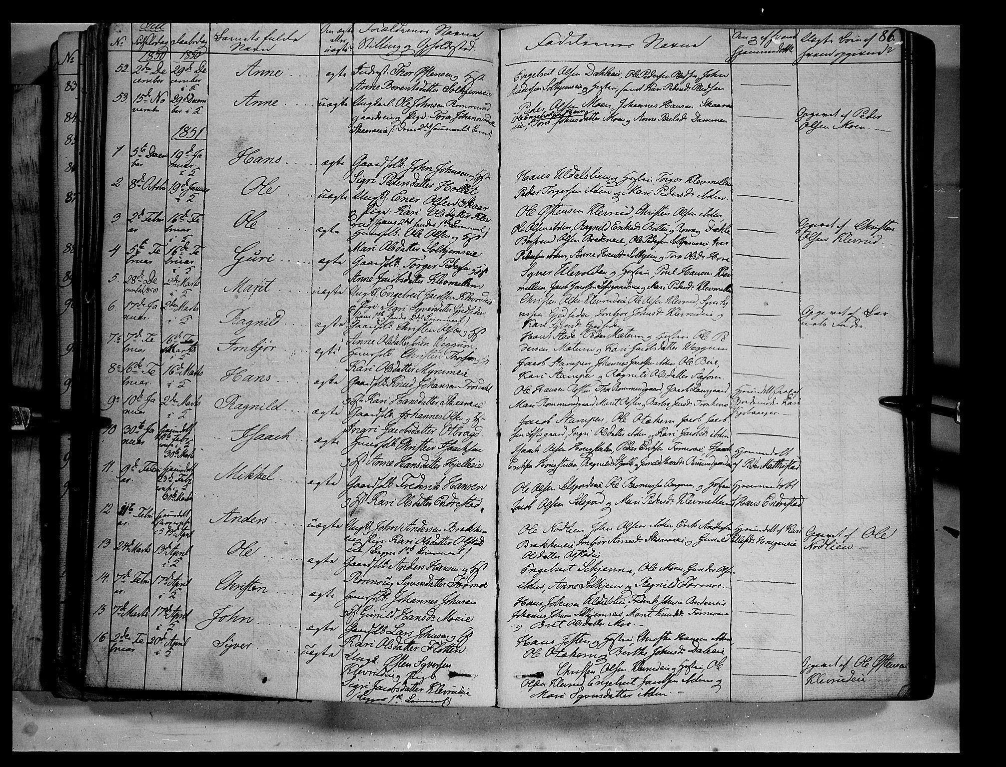 SAH, Vågå prestekontor, Ministerialbok nr. 5 /3, 1842-1856, s. 86